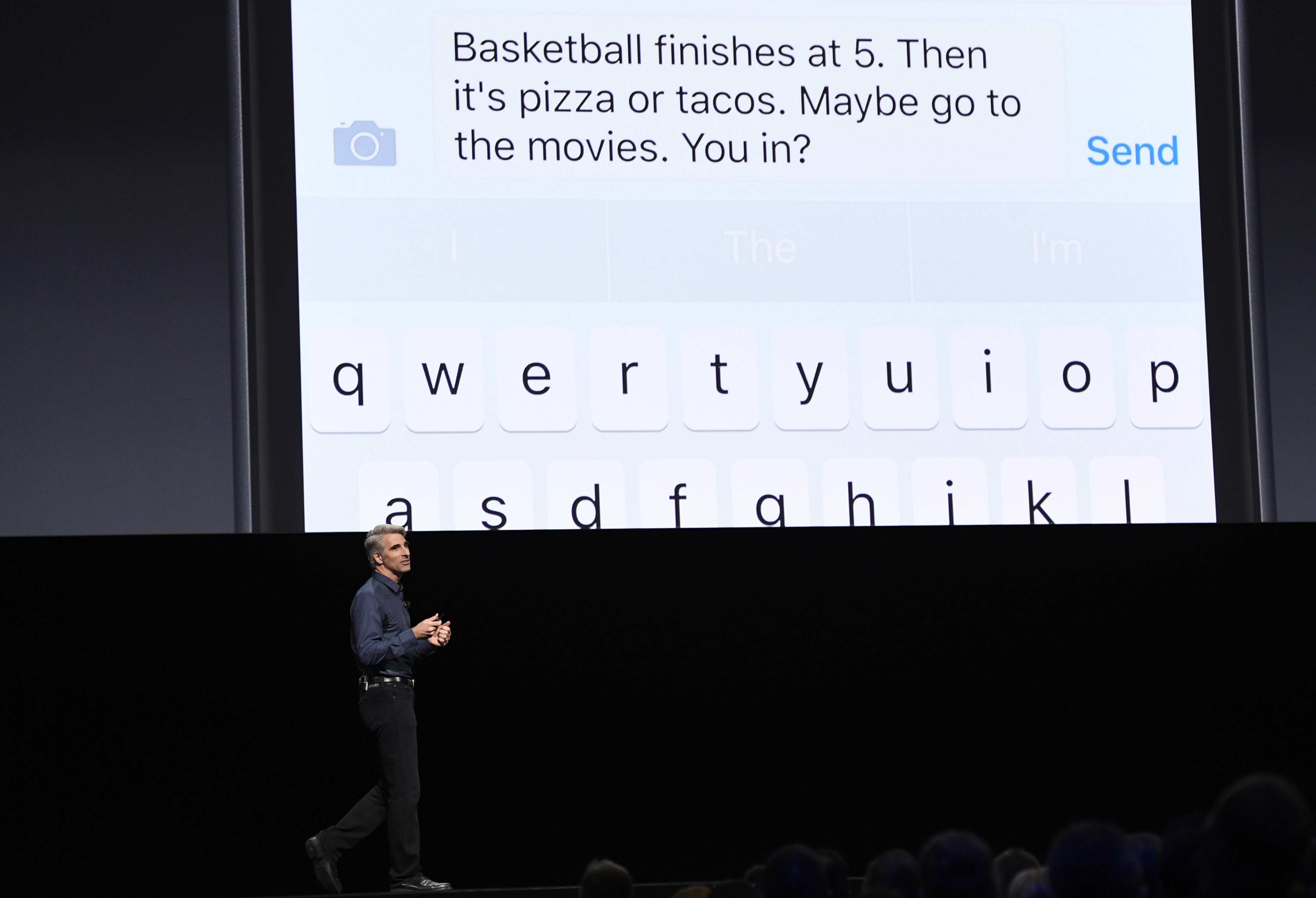 Craig Federighi, senior vice president of Software Engineering at Apple Inc., speaks during the Apple World Wide Developers Conference (WWDC) in San Francisco, California, U.S., on Monday, June 13, 2016.