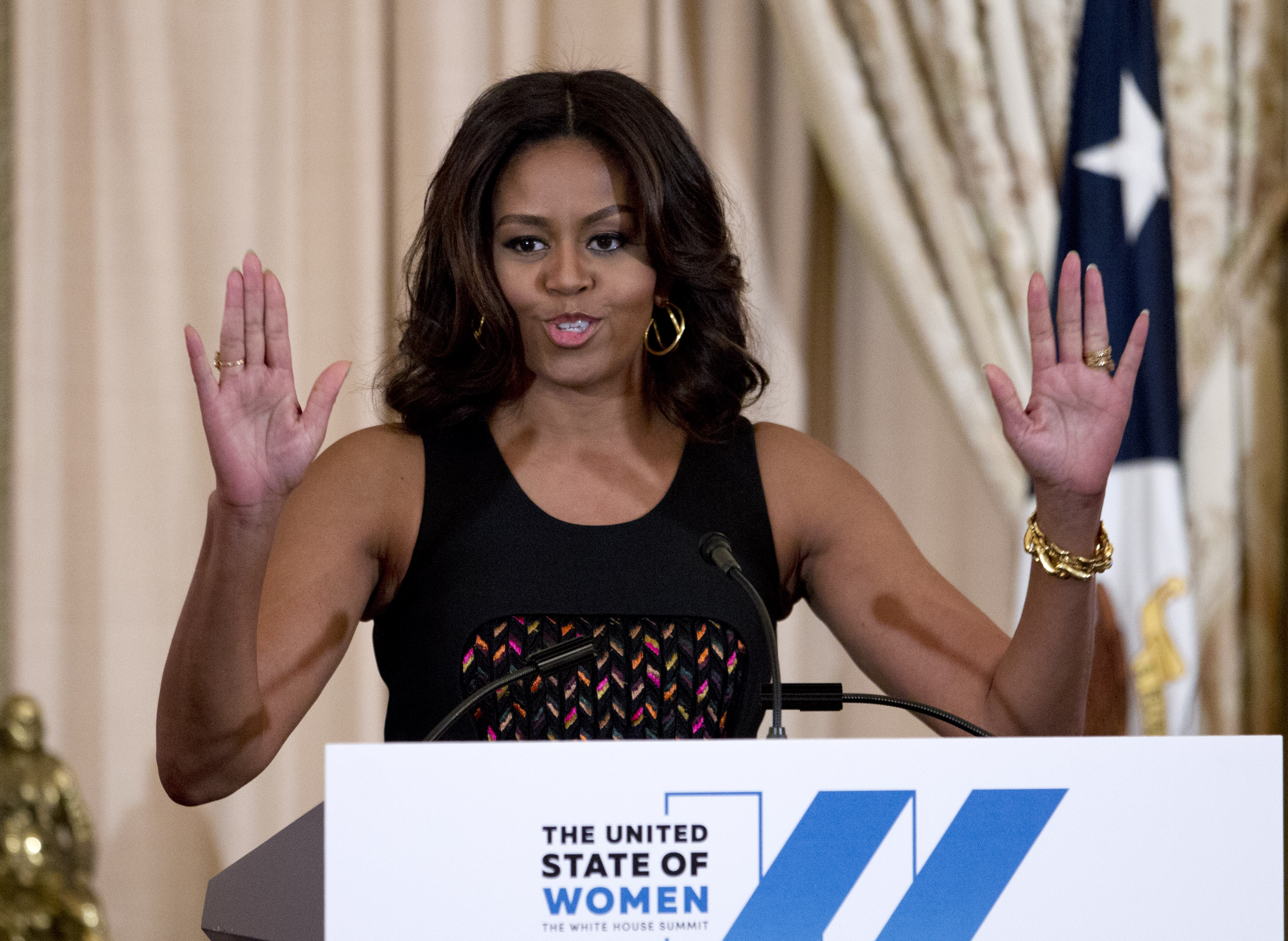 US First lady Michelle Obama speaks during a dinner to celebrate The White House Summit on the United State of Women at Department of State in Washington, DC on June 14, 2016.  (JOSE LUIS MAGANA/AFP/Getty Images)