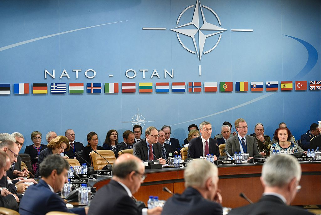NATO Secretary-General Jens Stoltenberg talks during a Nato Defence Council meeting at the NATO Headquarters in Brussels on June 15, 2016.                        Stoltenberg demanded that Russia withdraw its forces and military hardware from Ukraine and halt its support for pro-Moscow separatists battling Kiev.  / AFP / JOHN THYS        (Photo credit should read JOHN THYS/AFP/Getty Images)