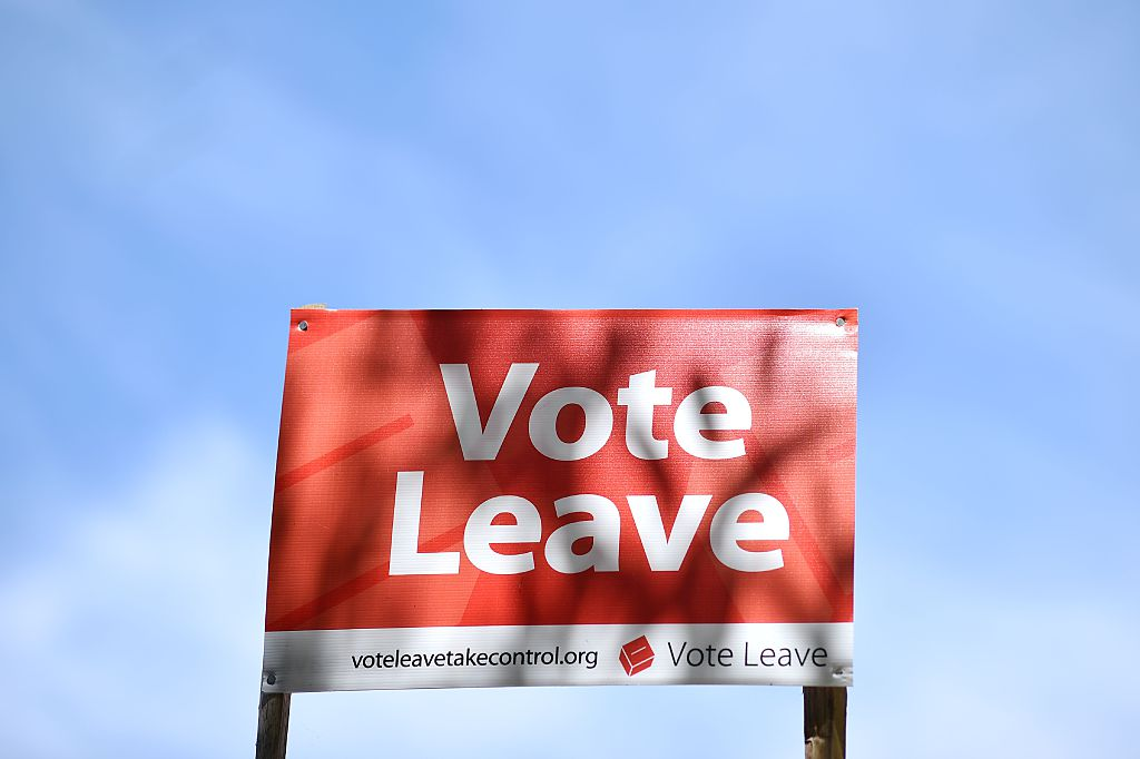 A 'Vote Leave' sign is seen by the roadside near Charing urging people to vote for Brexit in the upcoming EU referendum is seen on the roadside near Charing south east of London on June 16, 2016.                      Britain goes to the polls in a week on June 23 to vote to leave or remain in the European Union. / AFP / BEN STANSALL        (Photo credit should read BEN STANSALL/AFP/Getty Images)