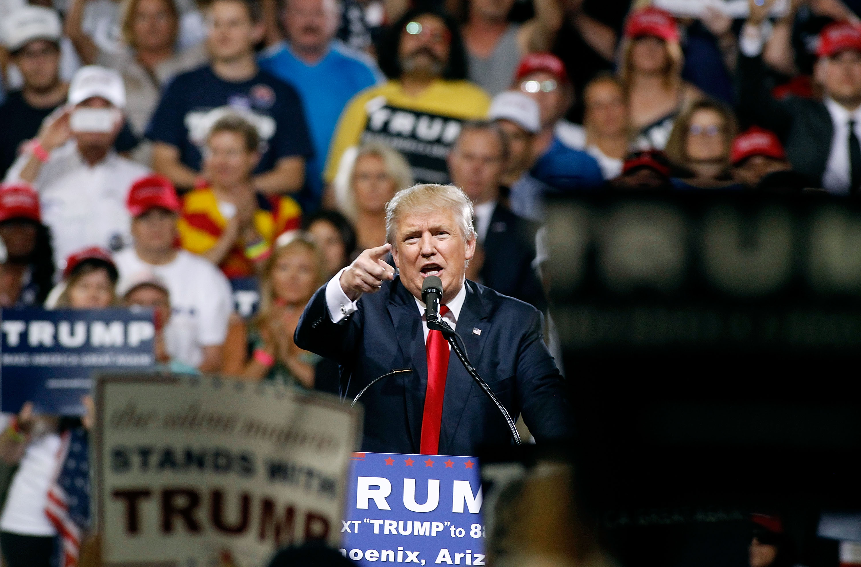 Republican presidential candidate Donald Trump speaks to a crowd of supporters during a campaign rally on June 18, 2016 in Phoenix, Arizona.