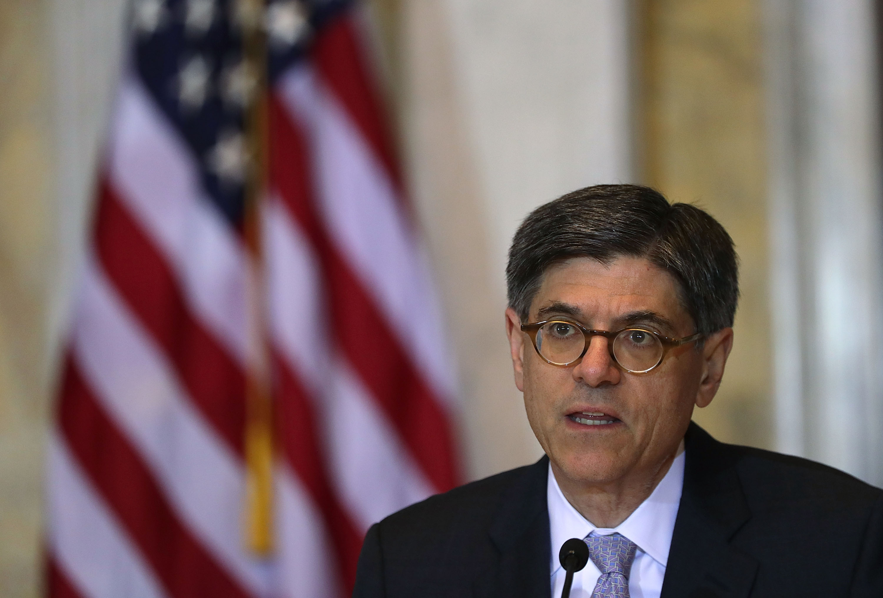 U.S. Secretary of the Treasury Jacob Lew speaks during a meeting of the Financial Stability Oversight Council June 21, 2016 in Washington, DC. The council held a meeting on its  2016 annual report, with an agenda that includes: an update on market developments; discussion of the Board of Governors of the Federal Reserve System's proposed rulemaking that would apply to certain insurance companies; and a discussion of the annual re-evaluation of the designation of a nonbank financial company.    Alex Wong—Getty Images