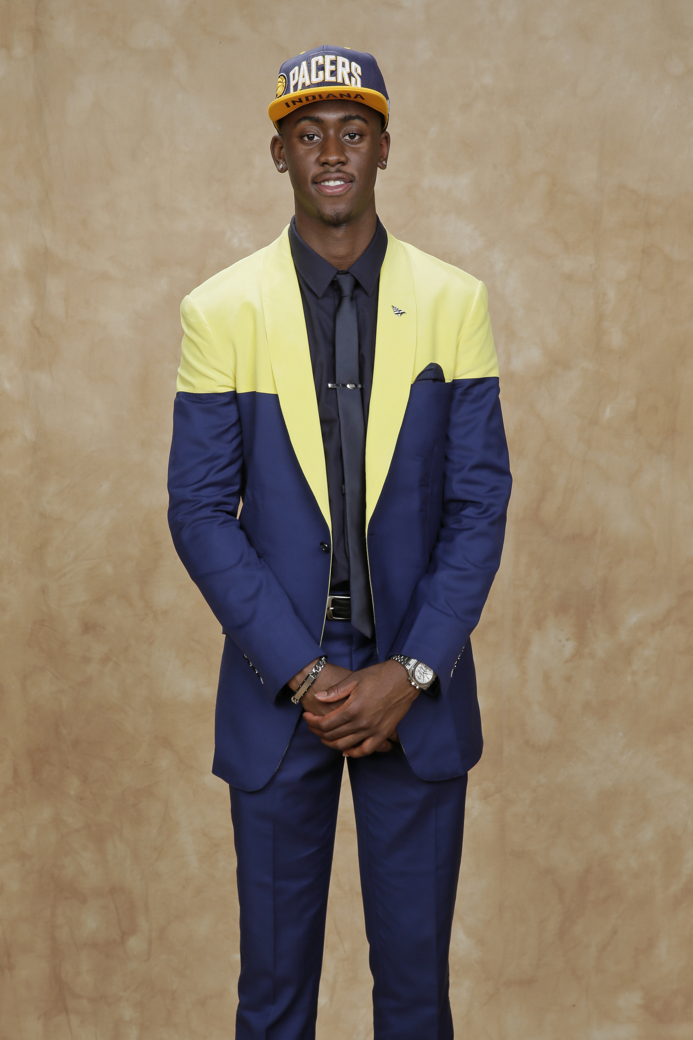In case there was any doubt about the school Caris LeVert hailed from, he wore a color-blocked suit jacket that would make University of Michigan proud.