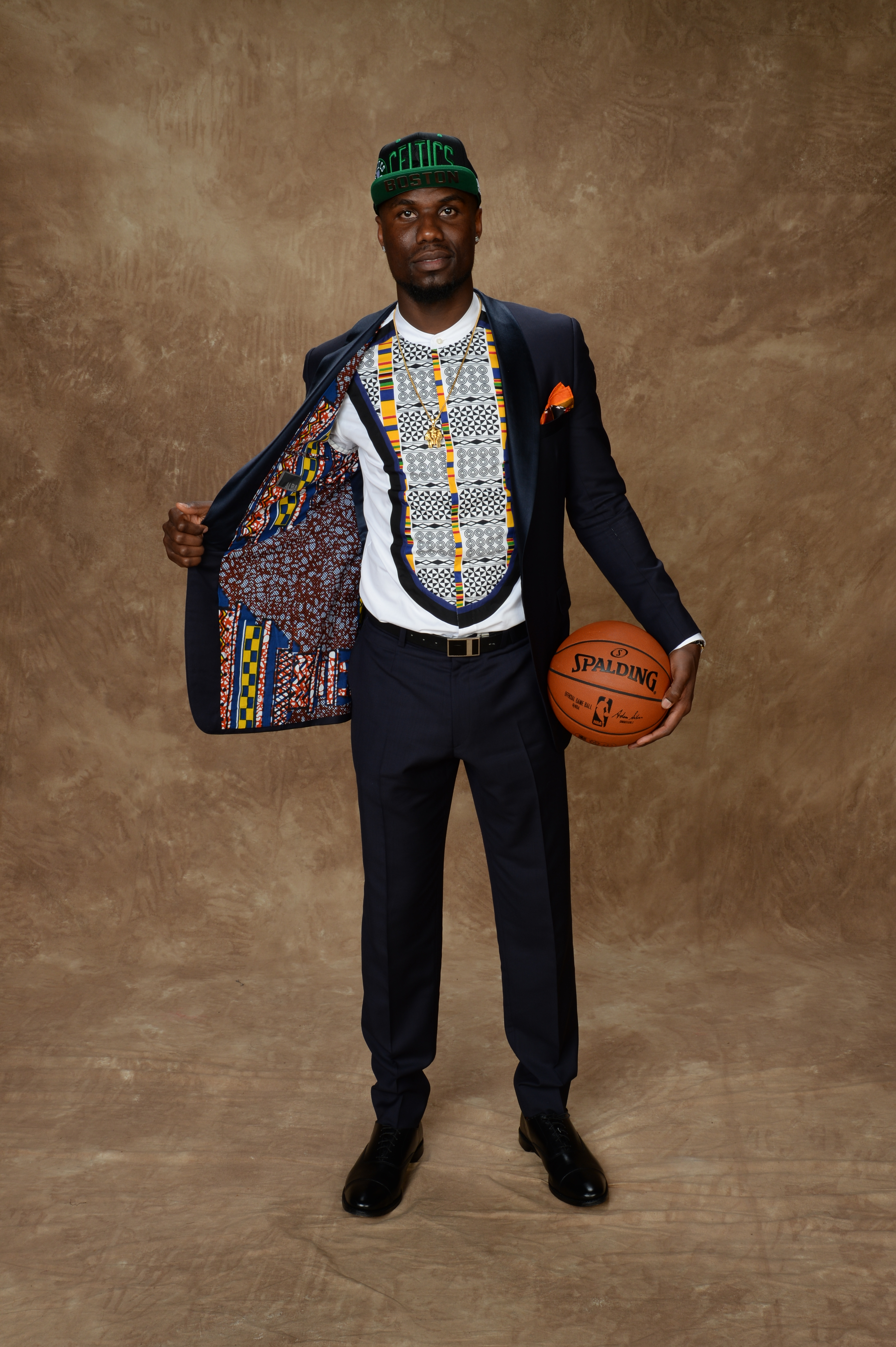 Ben Bentil's dapper suit and shirt came from Serge Ibaka's clothing line and paid homage to his homeland of Ghana.