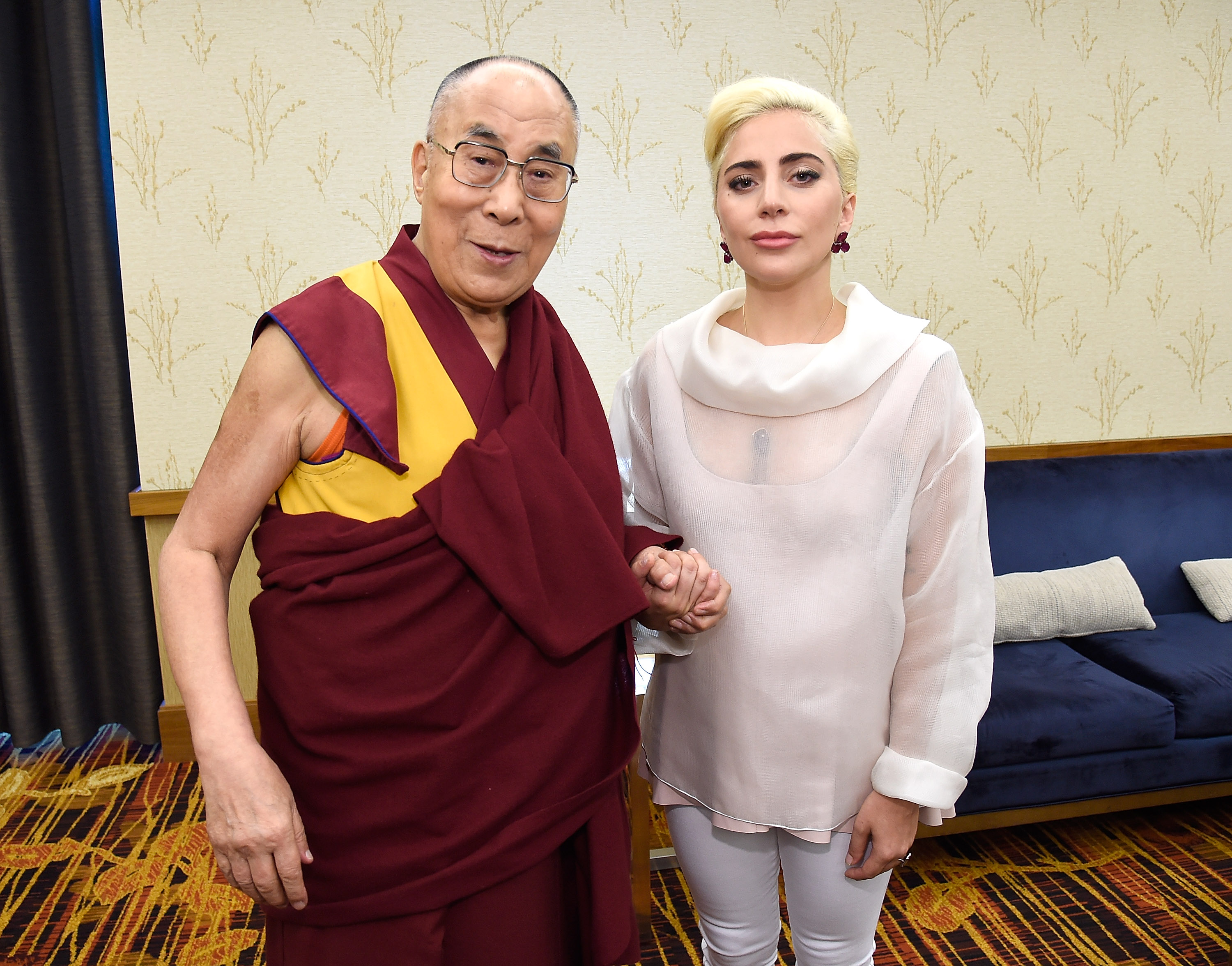 Lady Gaga joins the Dalai Lama to speak about kindness to the U.S. Mayors' Conference at JW Marriott in Indianapolis on June 26, 2016