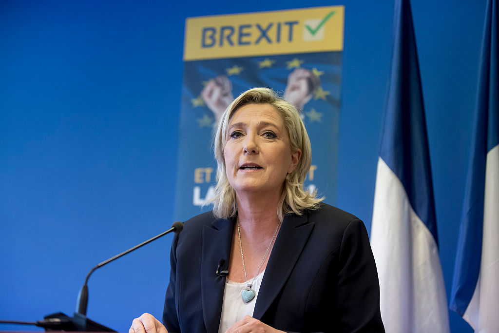 French President of Front National Marine Le Pen speaks during the press conference at the National Front political party headquarters concerning 'Brexit', the Referendum on membership of the United Kingdom to the European Union in Paris in June 24, 2016.