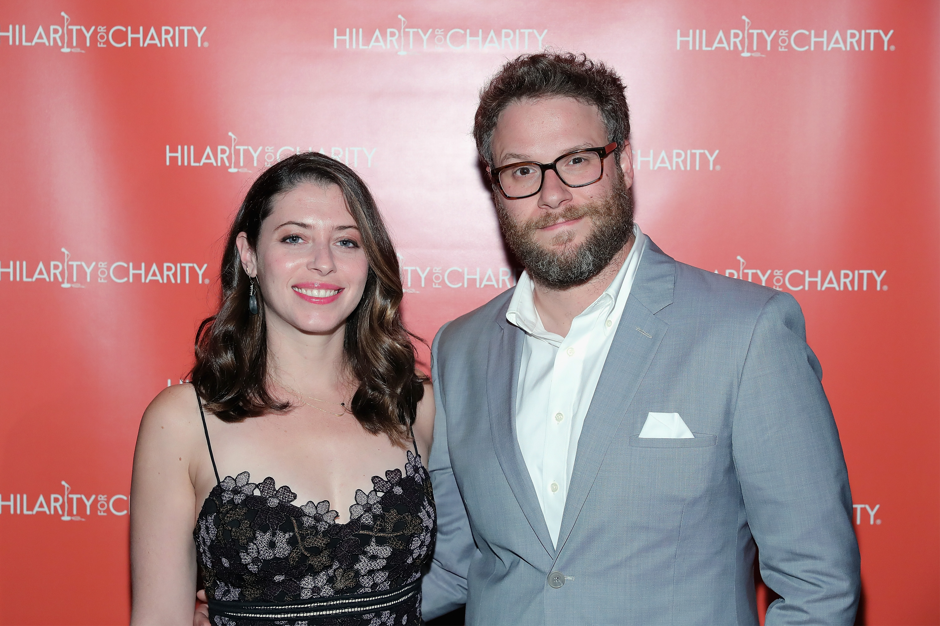 Actors Lauren Miller (L) and Seth Rogen attend HFC NYC presented by Hilarity for Charity at Highline Ballroom on June 29, 2016 in New York City.