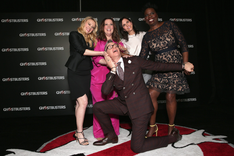 Actresses Kate McKinnon, Melissa McCarthy, Kristen Wiig, Leslie Jones and 'Ghostbusters' director Paul Feig attend CinemaCon 2016