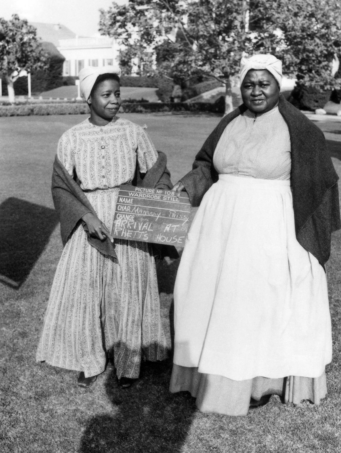 Hattie McDaniel, right, as Mammy, on the set of Gone with the Wind in 1939.