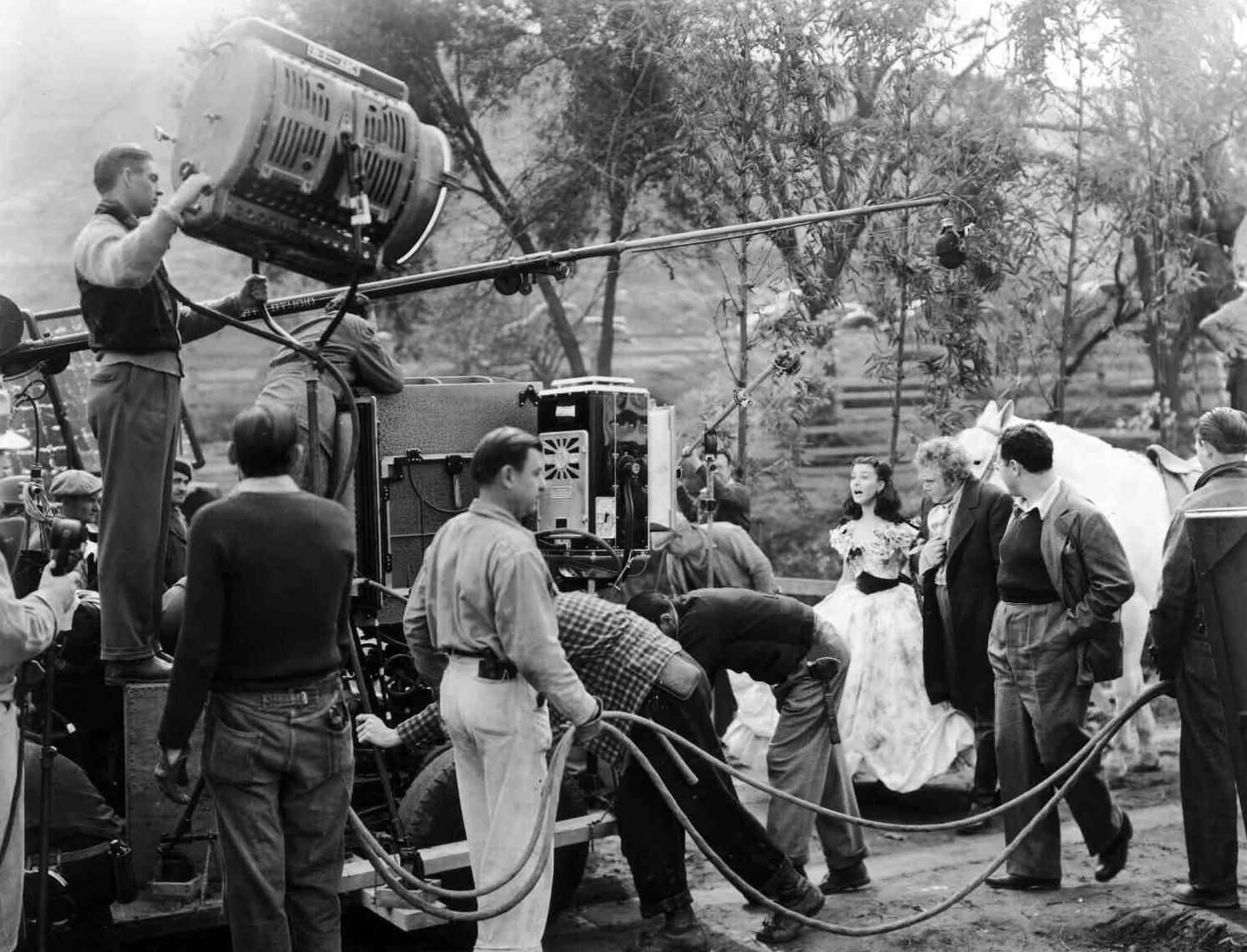Vivien Leigh and Thomas Mitchell, as Gerald O'Hara, on the set of Gone with the Wind in 1939.