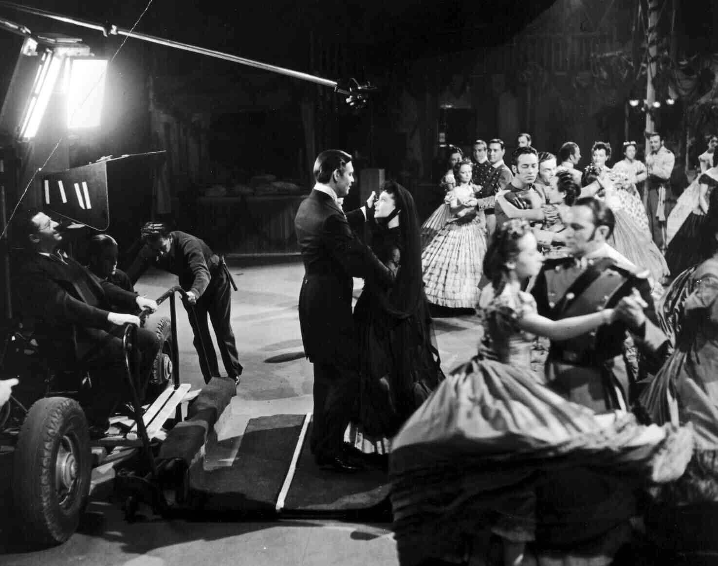 Clark Gable and Vivien Leigh on the set of Gone with the Wind in 1939.