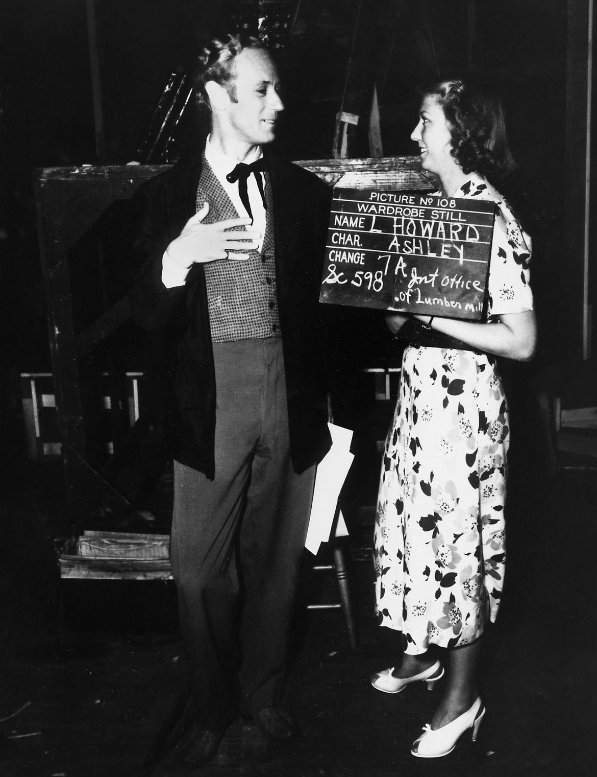 Leslie Howard, as Ashley Wilkes, on the set of Gone with the Wind in 1939.