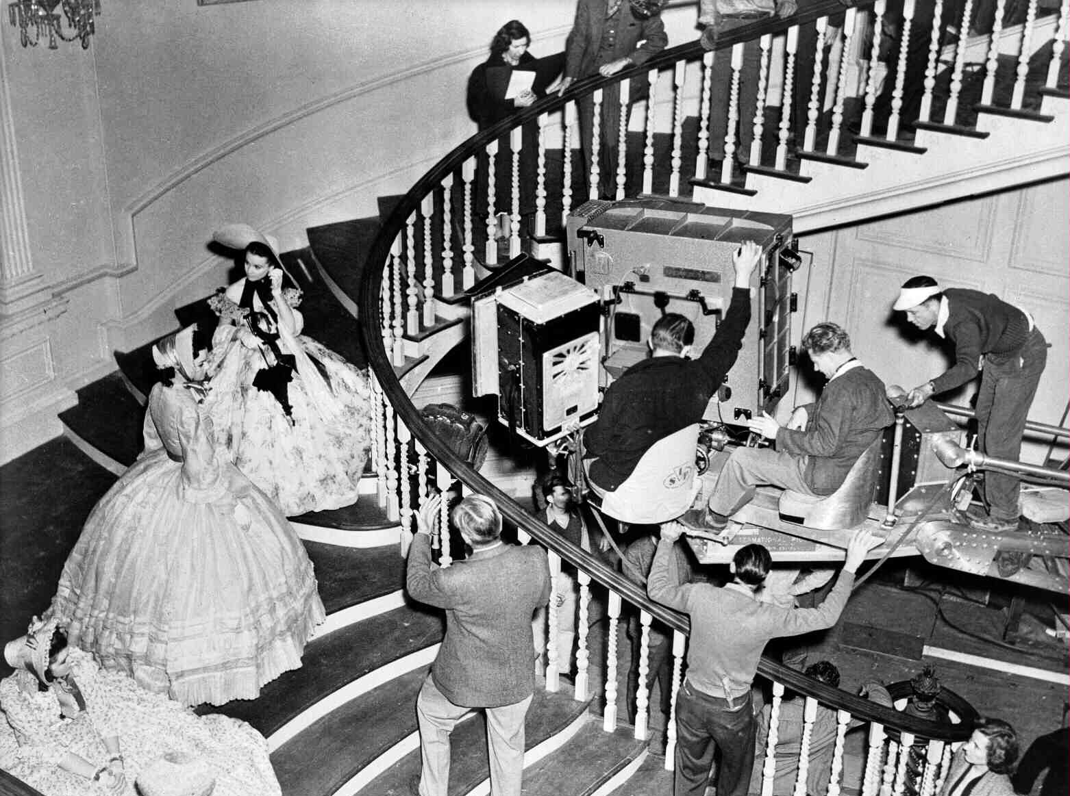 Victor Fleming directs a scene on the set of Gone with the Wind in 1939.