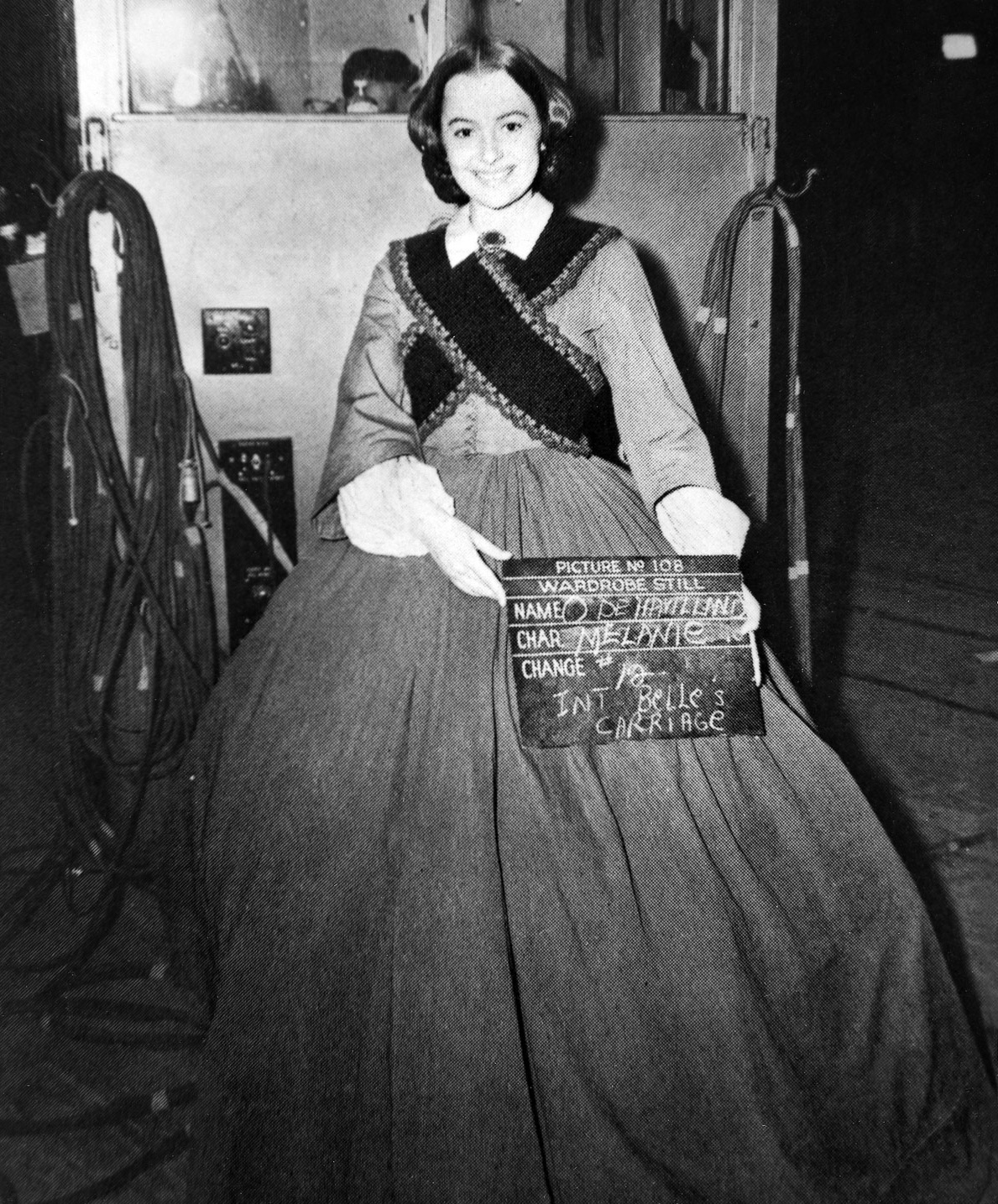 Olivia de Havilland as Melanie Hamilton on the set of Gone with the Wind in 1939.