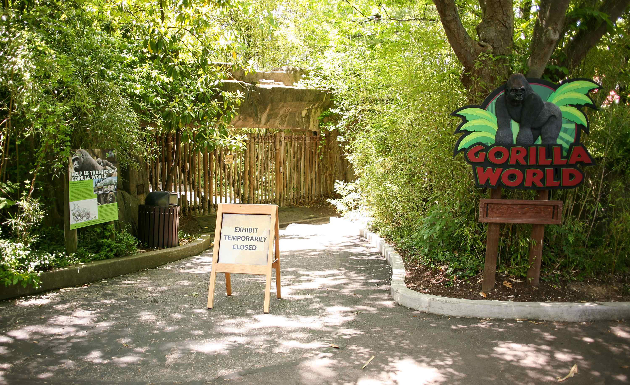 The entrance to the Cincinnati Zoo's Gorilla World exhibit is closed, two days after a boy tumbled into its moat and officials were forced to kill Harambe, a Western lowland gorilla, in Cincinnati, Ohio, on May 30, 2016.