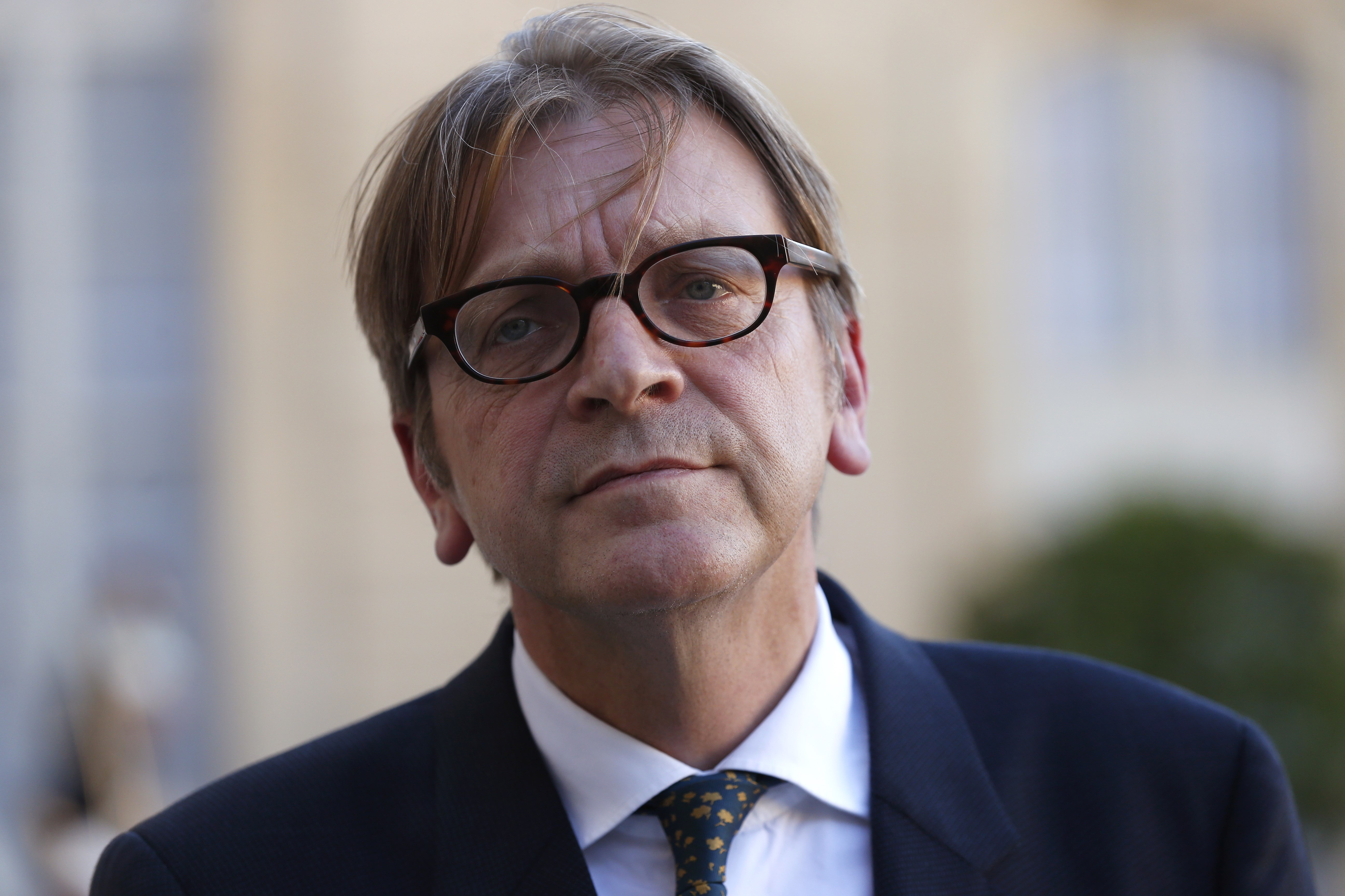 Guy Verhofstadt, Belgian member of the European Parliament, leader of the Alliance of liberals and Democrats for Europe (ALDE) group, and former Belgium prime minister, speaks to journalists after a meeting with French President at the Elysee Presidential Palace, in Paris  on Sept. 29, 2015.