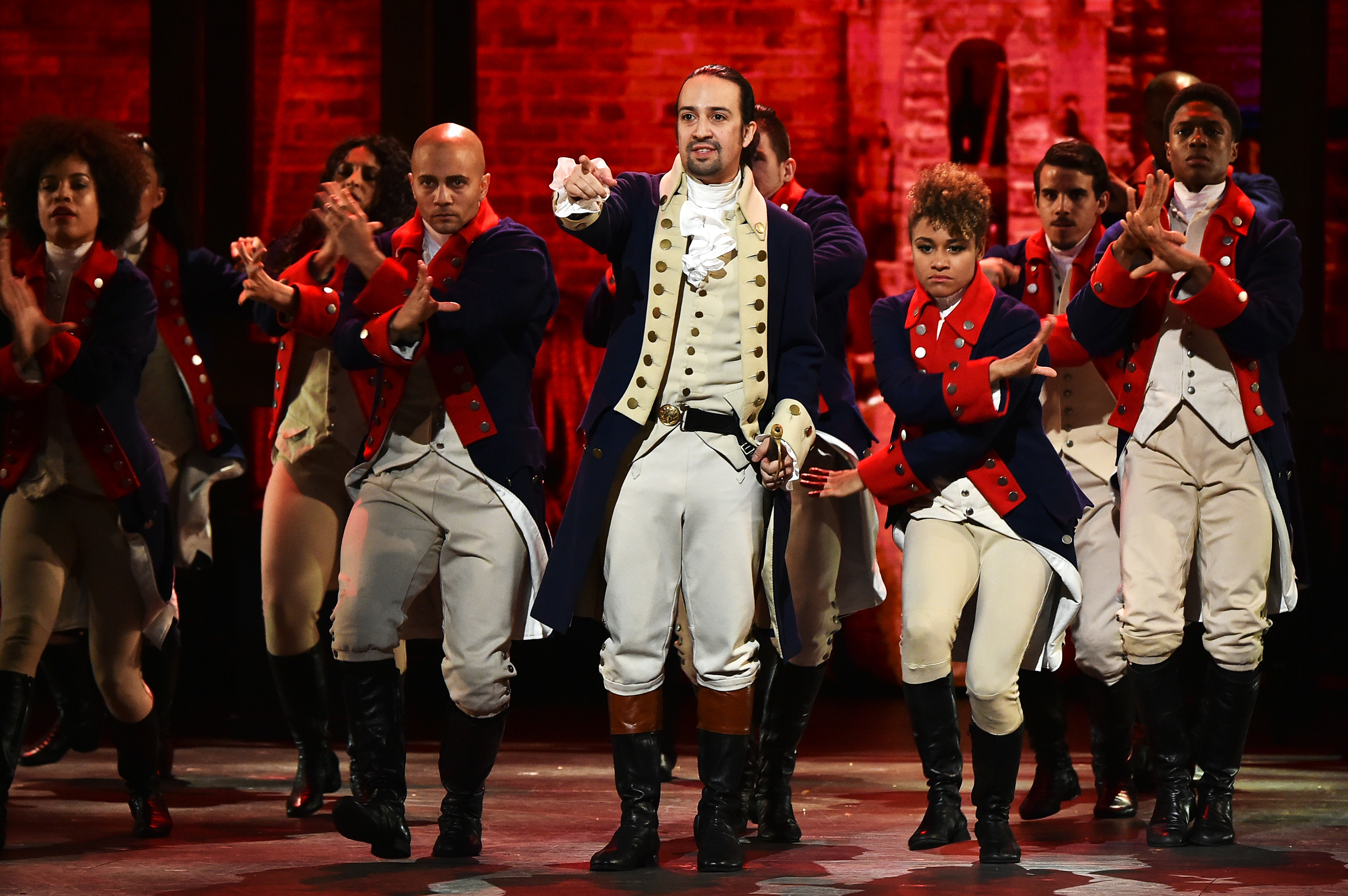 Lin-Manuel Miranda and the cast of 'Hamilton' perform onstage during the 70th Annual Tony Awards at The Beacon Theatre in New York City, June 12, 2016.