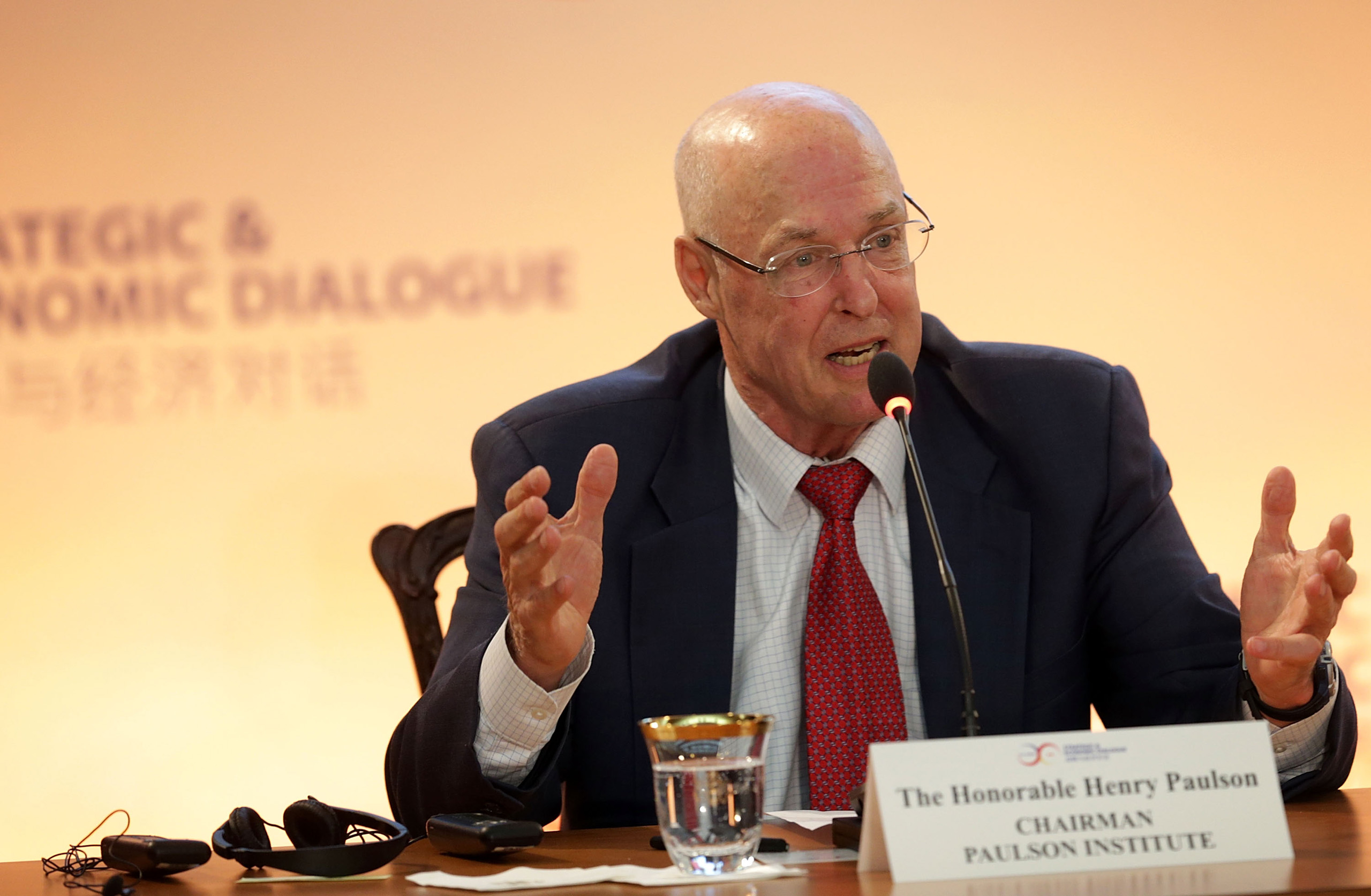 Former Secretary of the Treasury Henry Paulson speaks during a panel discussion on energy and environment cooperation during the Strategic and Economic Dialogue in Washington, D.C. on June 23, 2015.