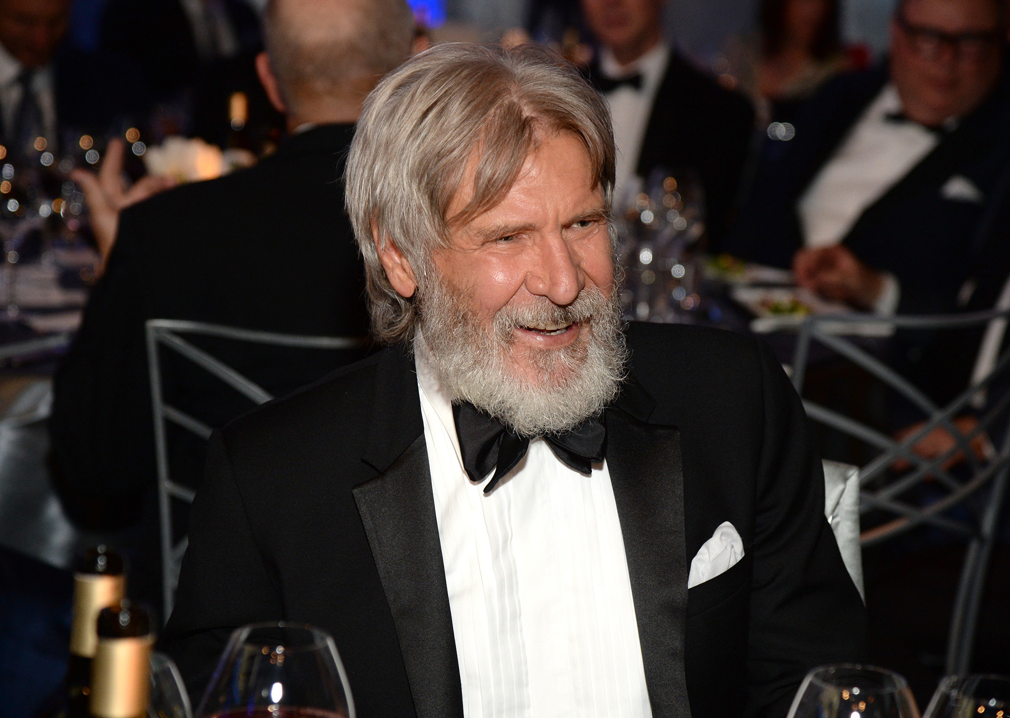 HOLLYWOOD, CA - JUNE 09:  Actor Harrison Ford poses in the audience during American Film Institute's 44th Life Achievement Award Gala Tribute to John Williams (Photo by Michael Kovac/Getty Images for AFI)