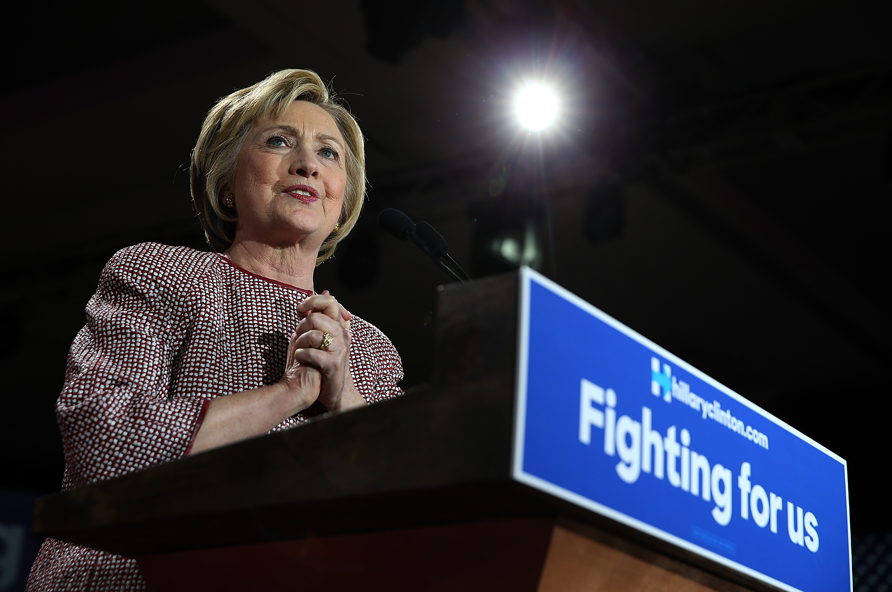 Democratic presidential candidate former Secretary of State Hillary Clinton speaks during a primary election night gathering on April 19, 2016 in New York City.