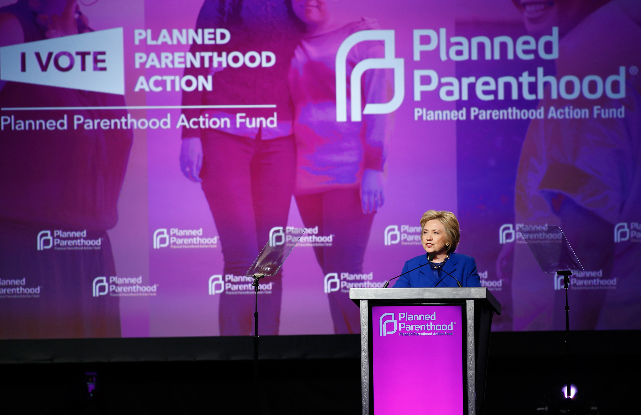 Democratic presidential candidate Hillary Clinton speaks during a Planned Parenthood Action Fund membership event in Washington on June 10, 2016.