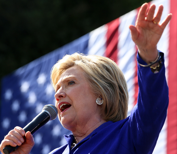 Democratic presidential candidate Hillary Clinton gives a speech at a Get Out The Vote rally in Leimert Park Village Plaza a day before the California Primary on June 6, 2016 in Los Angeles, California.