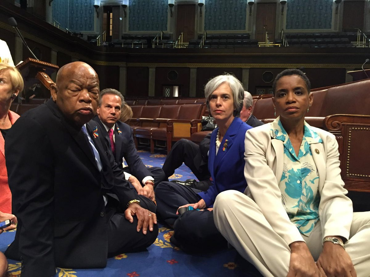 Democratic members of the U.S. House of Representatives, including Donna Edwards and John Lewis, staging a sit-in on Capitol Hill, on June 22, 2016.