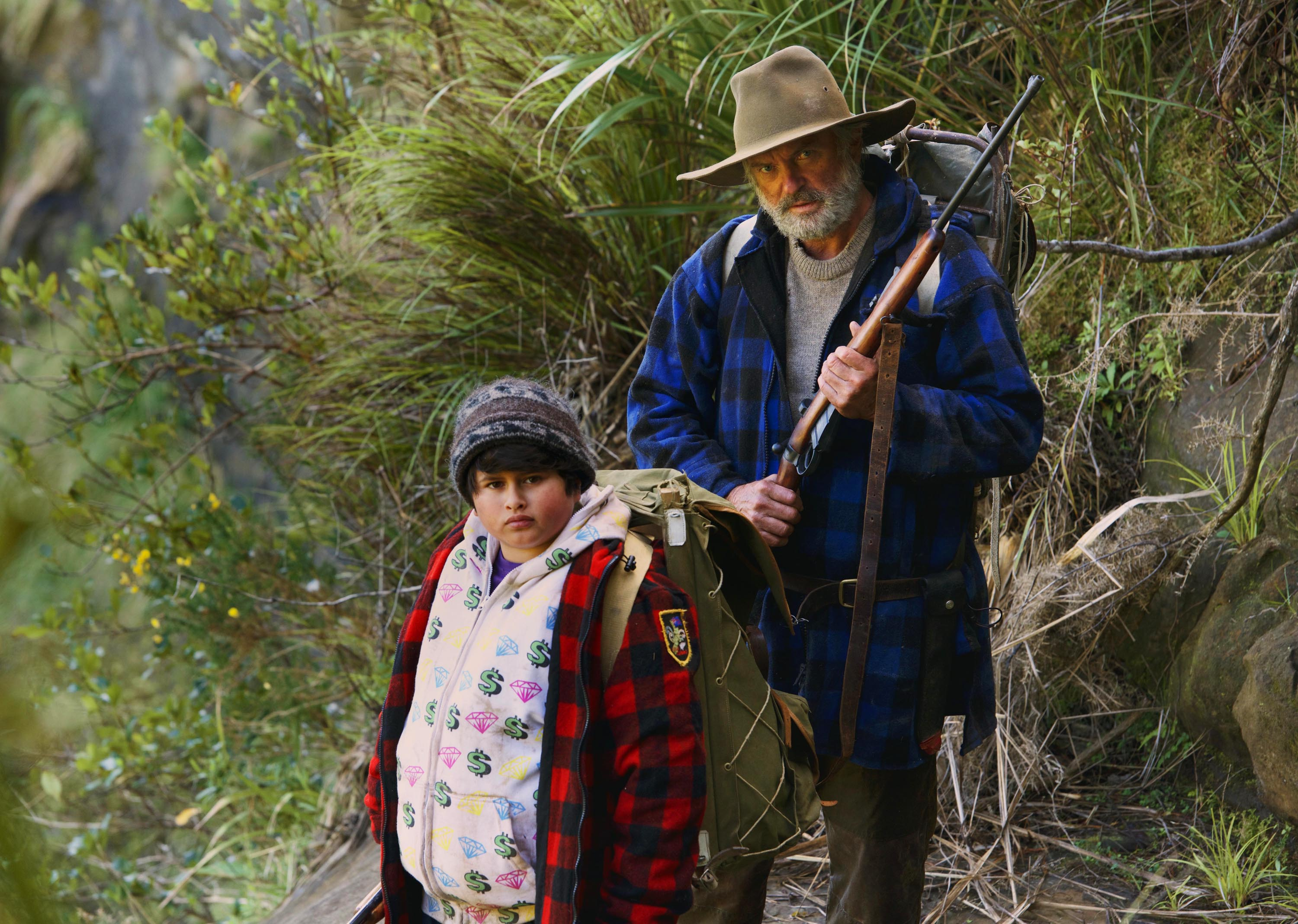 Julian Dennison, left, and Sam Neill, right, in Hunt For The Wilderpeople.