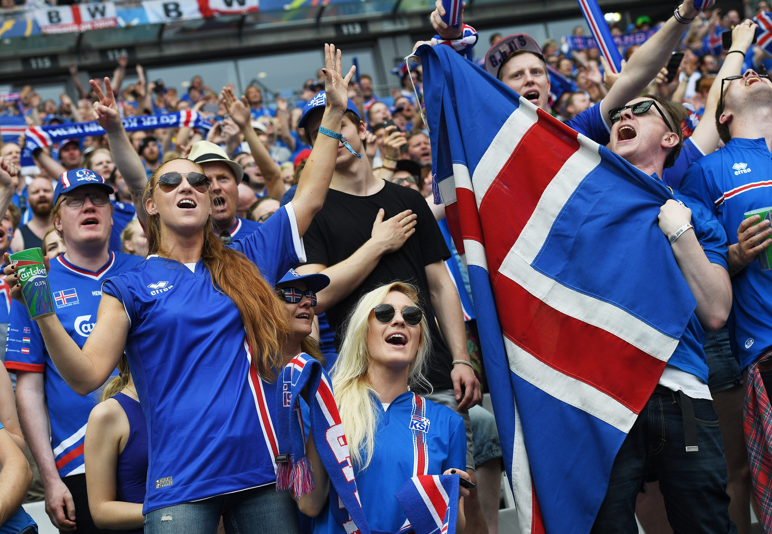 Iceland fans before the UEFA EURO 2016 group F preliminary round match between Iceland and Austria at Stade de France in Saint-Denis, France, on June 22, 2016.