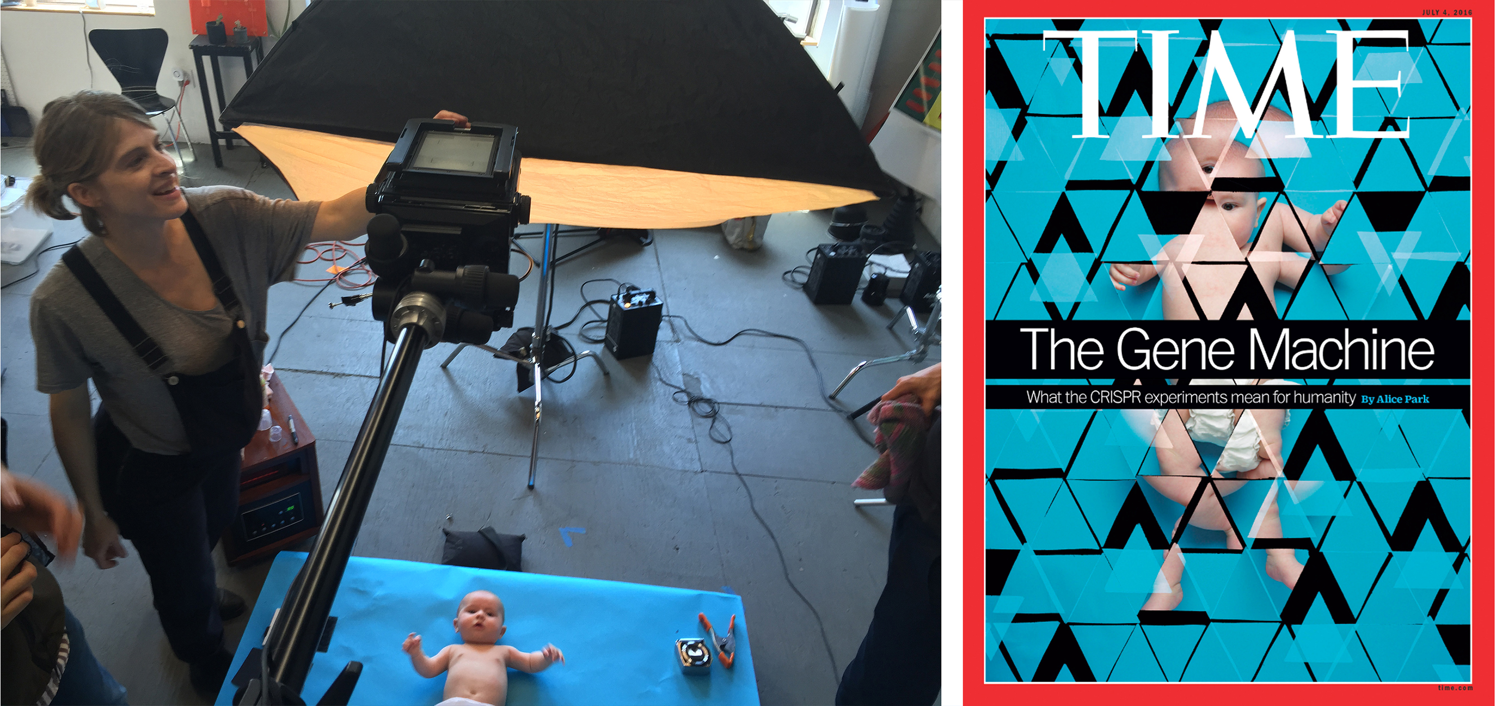 Left to right: Behind the scenes photo from the TIME shoot, Whitaker's cover for TIME Magazine.