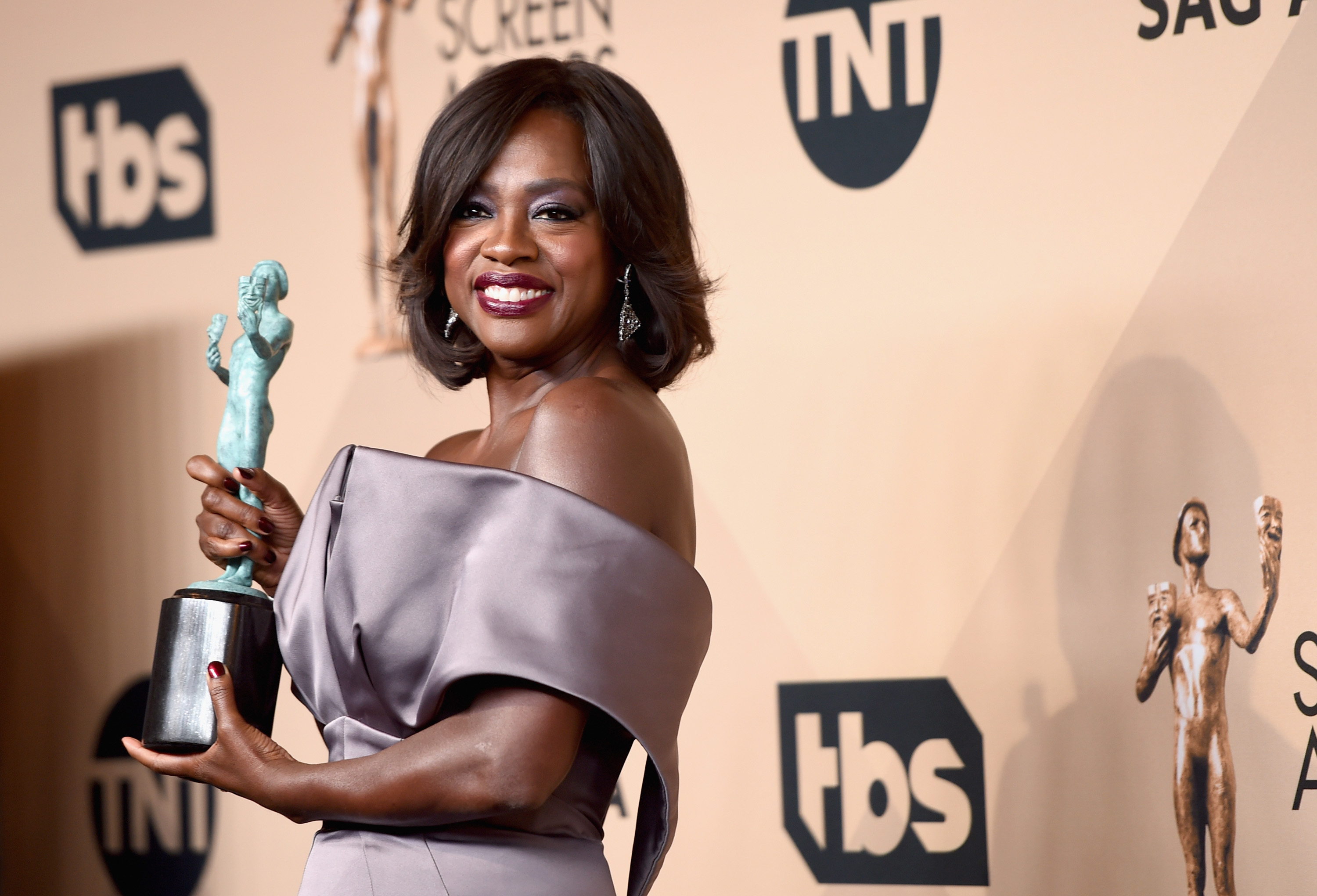 LOS ANGELES, CA - JANUARY 30:  Actress Viola Davis, winner of the Outstanding Performance by a Female Actor in a Drama Series award for 'How to Get Away with Murder,' poses in the press room during The 22nd Annual Screen Actors Guild Awards at The Shrine Auditorium on January 30, 2016 in Los Angeles, California. 25650_015  (Photo by Jason Merritt/Getty Images for Turner)