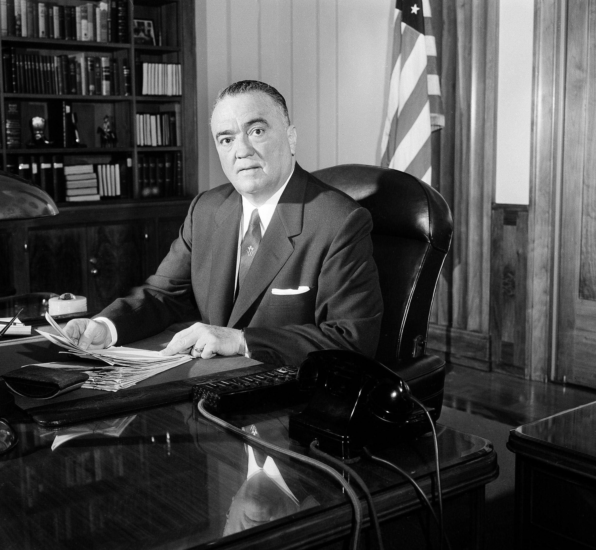 F.B.I. director J. Edgar Hoover in his Washington office, May 20, 1963.