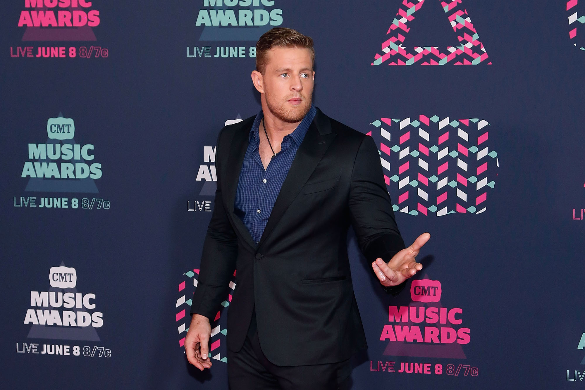 J.J. Watt attends the 2016 CMT Music awards at the Bridgestone Arena on June 8, 2016 in Nashville, Tennessee.  (Photo by Taylor Hill/FilmMagic)
