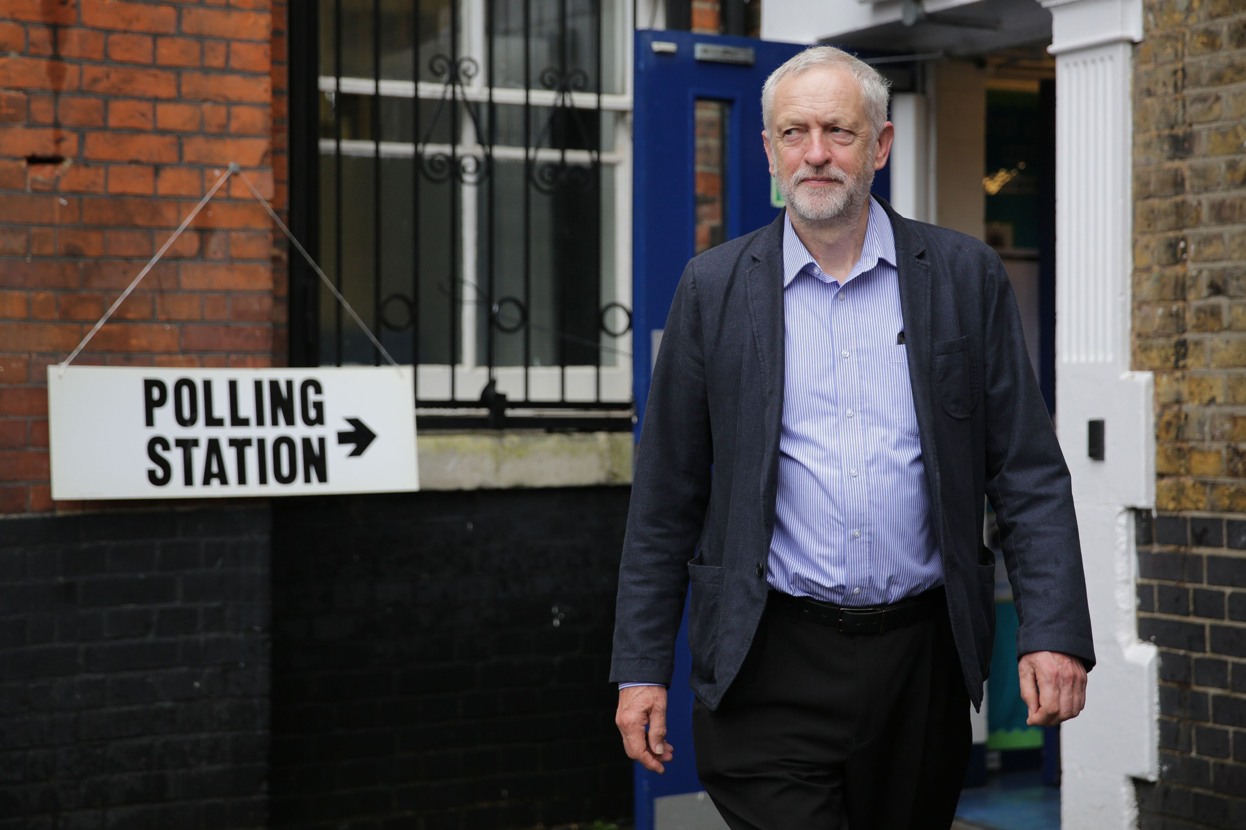 Labour Party leader Jeremy Corbyn leaves after casting his vote at a polling station in London on June 23, 2016
