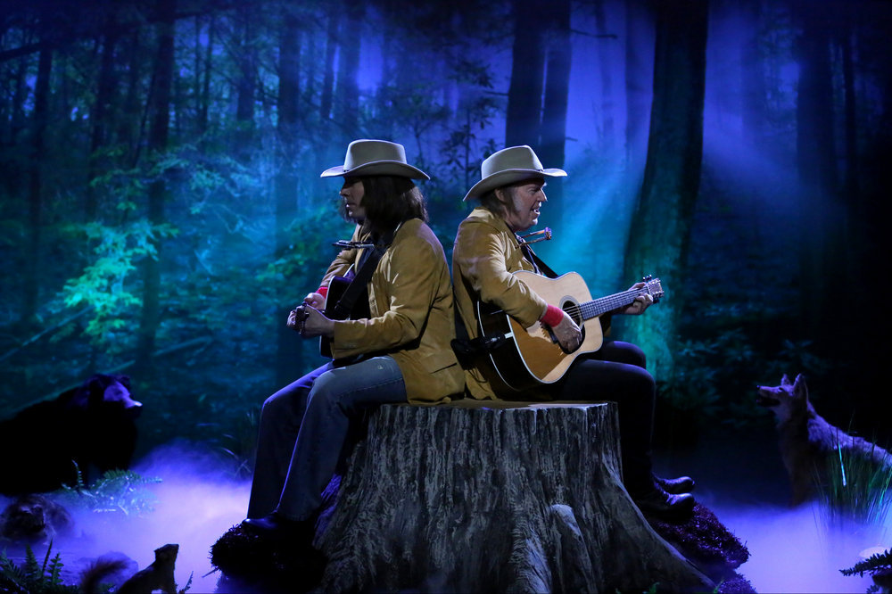 Jimmy Fallon and musician Neil Young during the  Two Neil Youngs on a Tree Stump  sketch on June 21, 2016.
