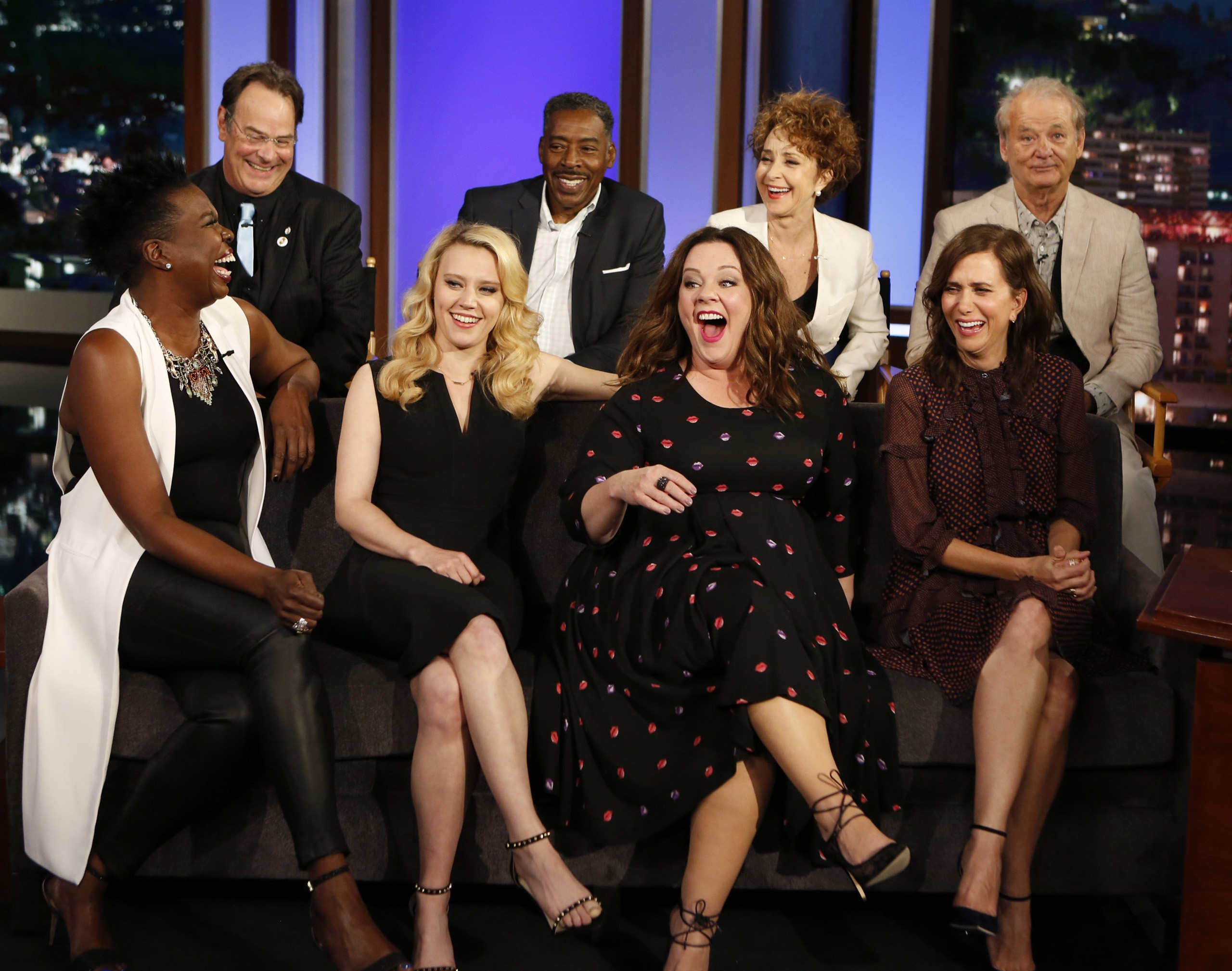 Leslie Jones, Dan Aykroyd, Kate McKinnon, Ernie Hudson, Melissa McCarthy, Annie Potts, Kristen Wiig, and Bill Murray, the cast from both  Ghostbusters  films  on the set of  Jimmy Kimmel Live.