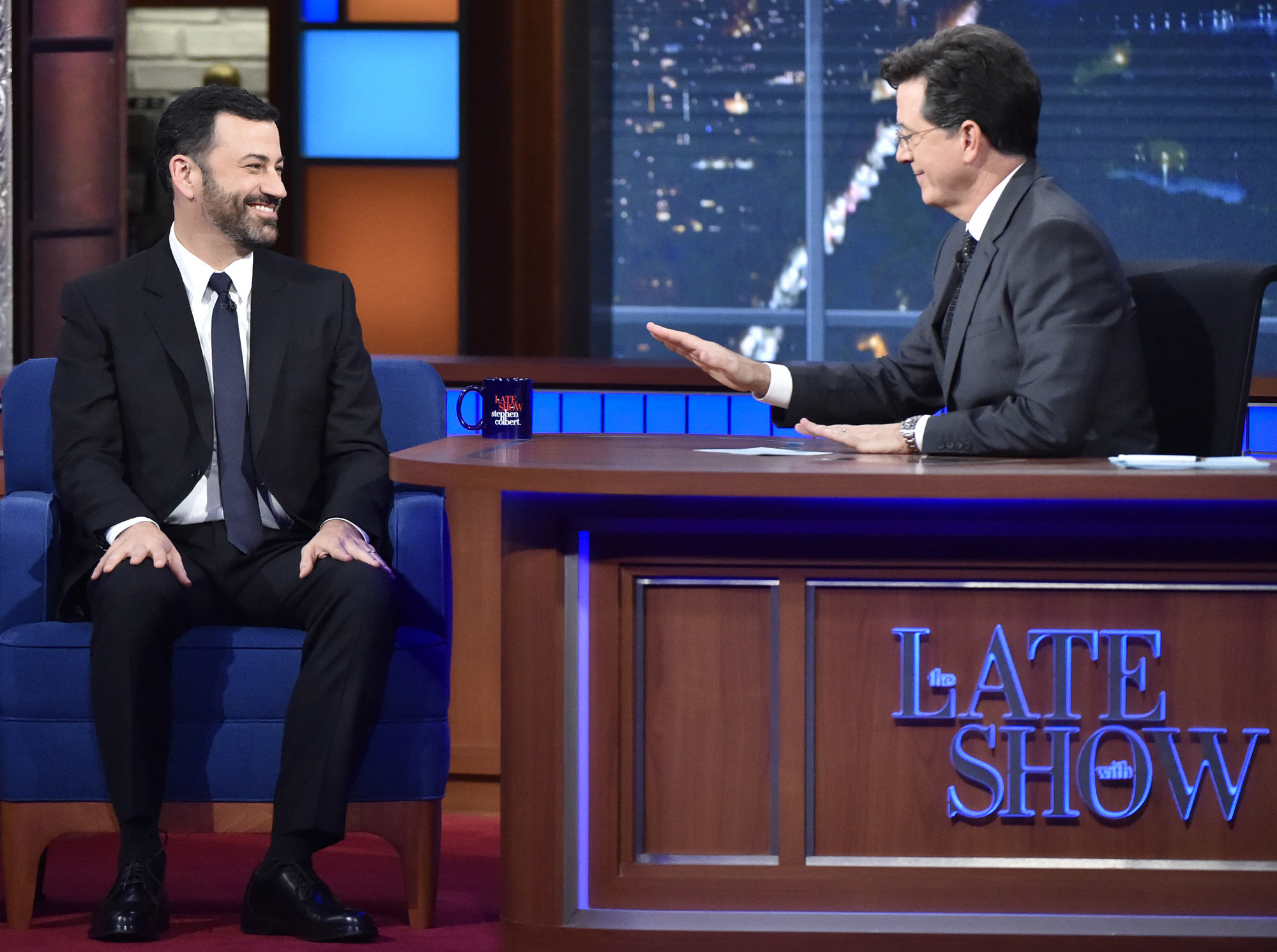 The Late Show with Stephen Colbert with Jimmy Kimmel as his guest on Friday's 10/16/15 show in New York.