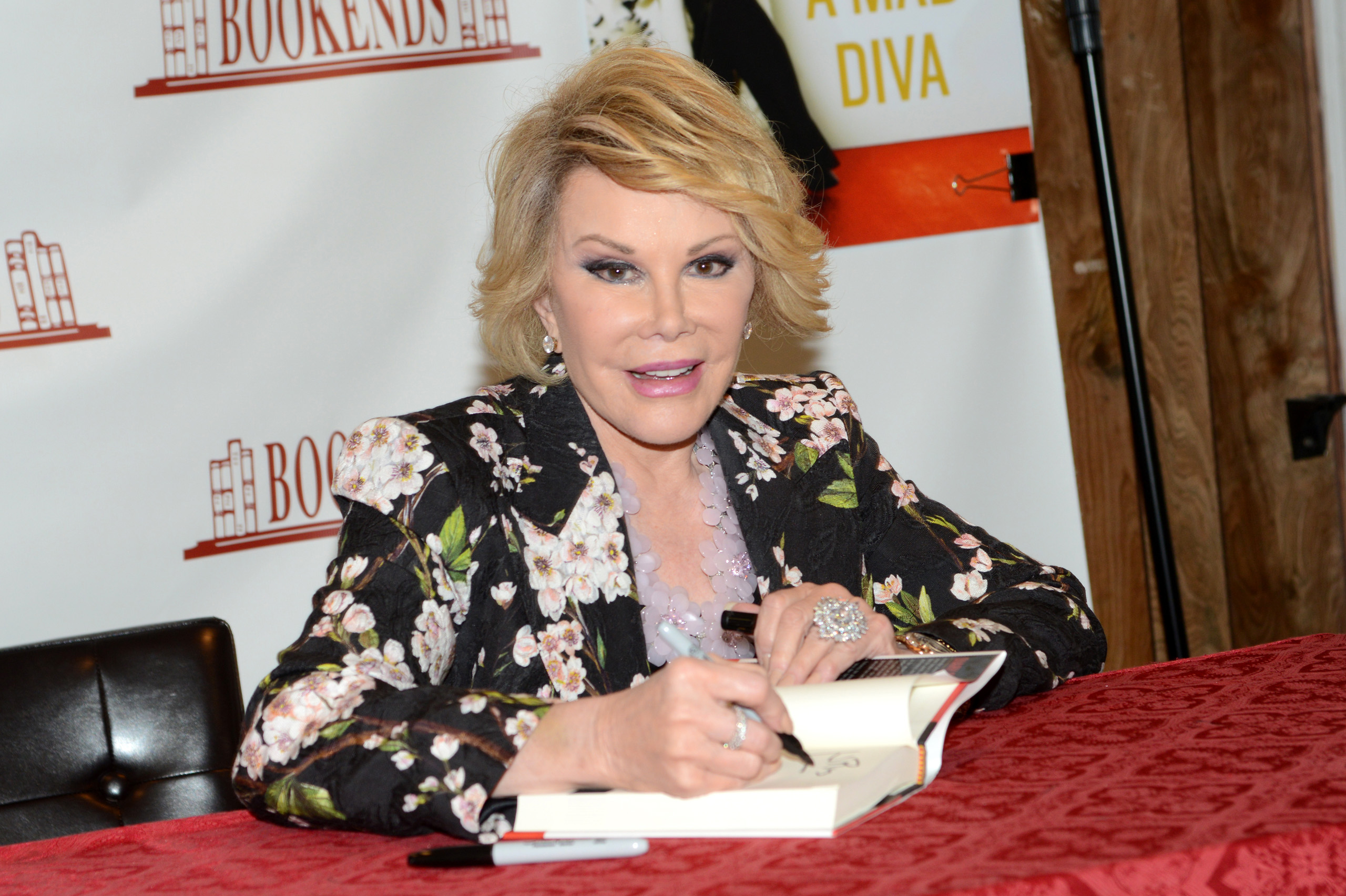 Joan Rivers promotes  Diary of a Mad Diva  at Bookends Bookstore in Ridgewood, New Jersey, July 1, 2014.