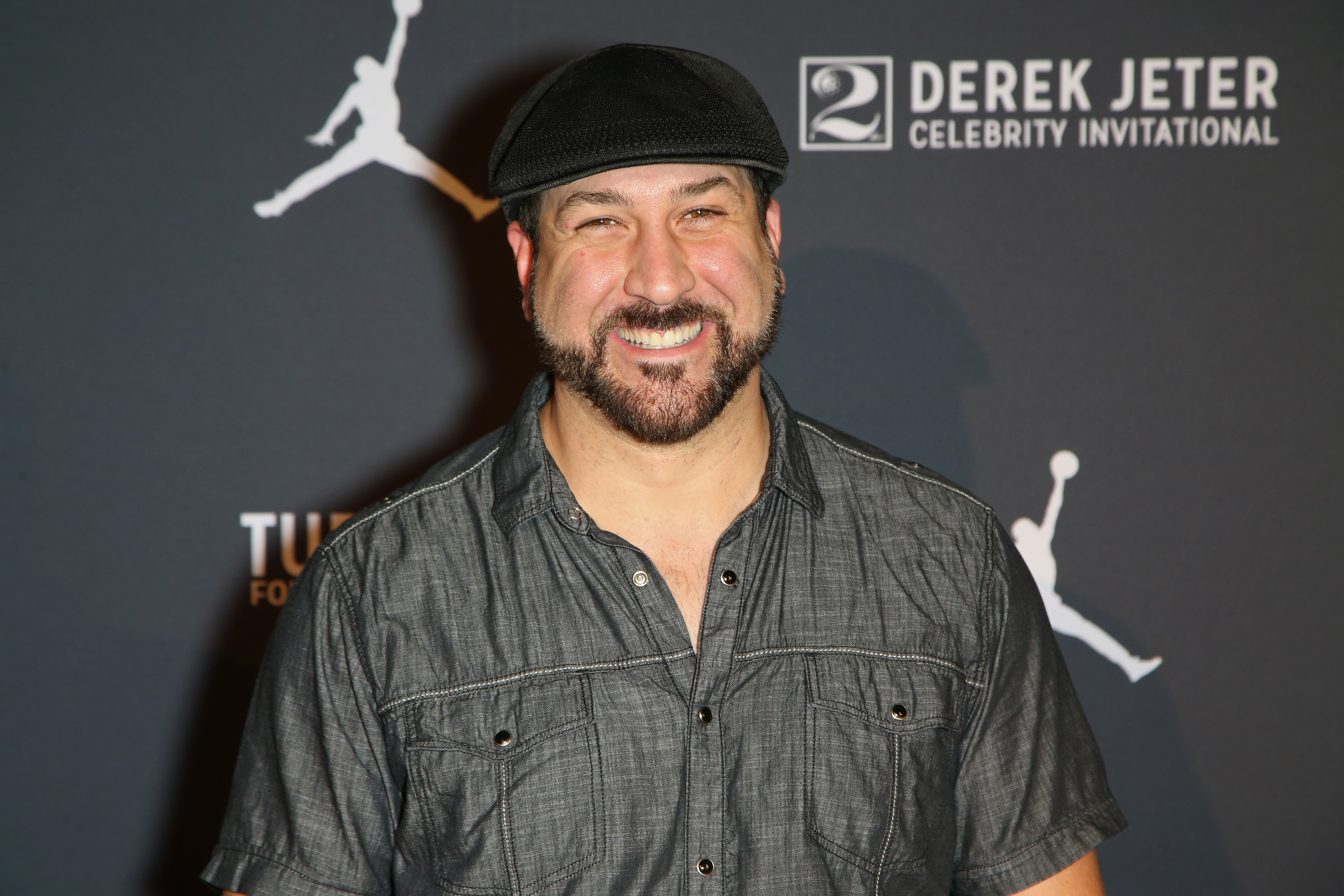 Singer Joey Fatone arrives at the Liquid Pool Lounge for the kickoff of Derek Jeter's celebrity invitational at the Aria Resort & Casino on April 20, 2016 in Las Vegas, Nevada.