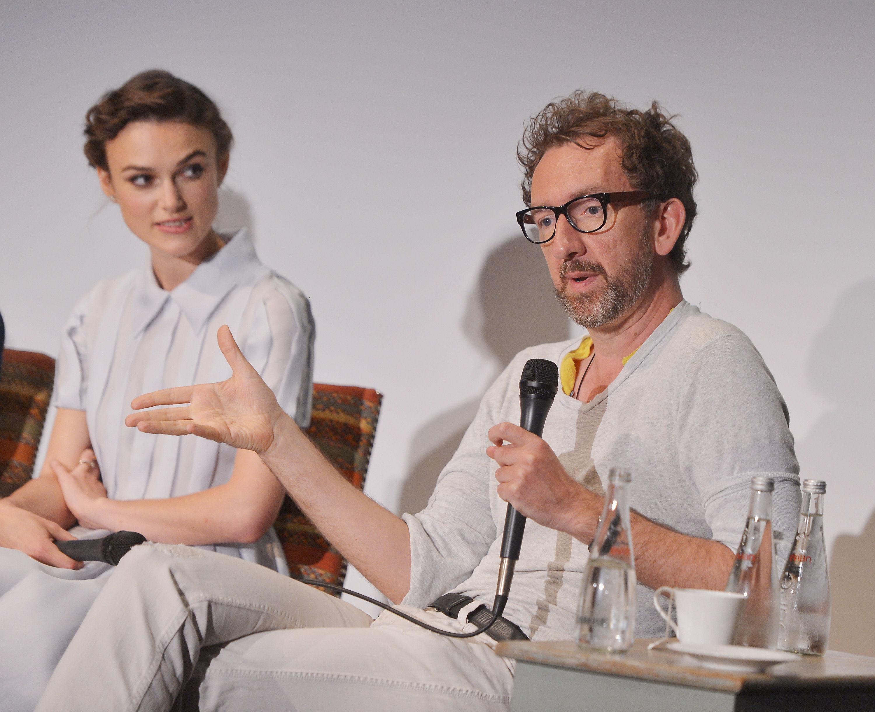 Actress Keira Knightley and writer/director John Carney attend the 'Begin Again' press conference at Crosby Street Hotel on June 26, 2014 in New York City.