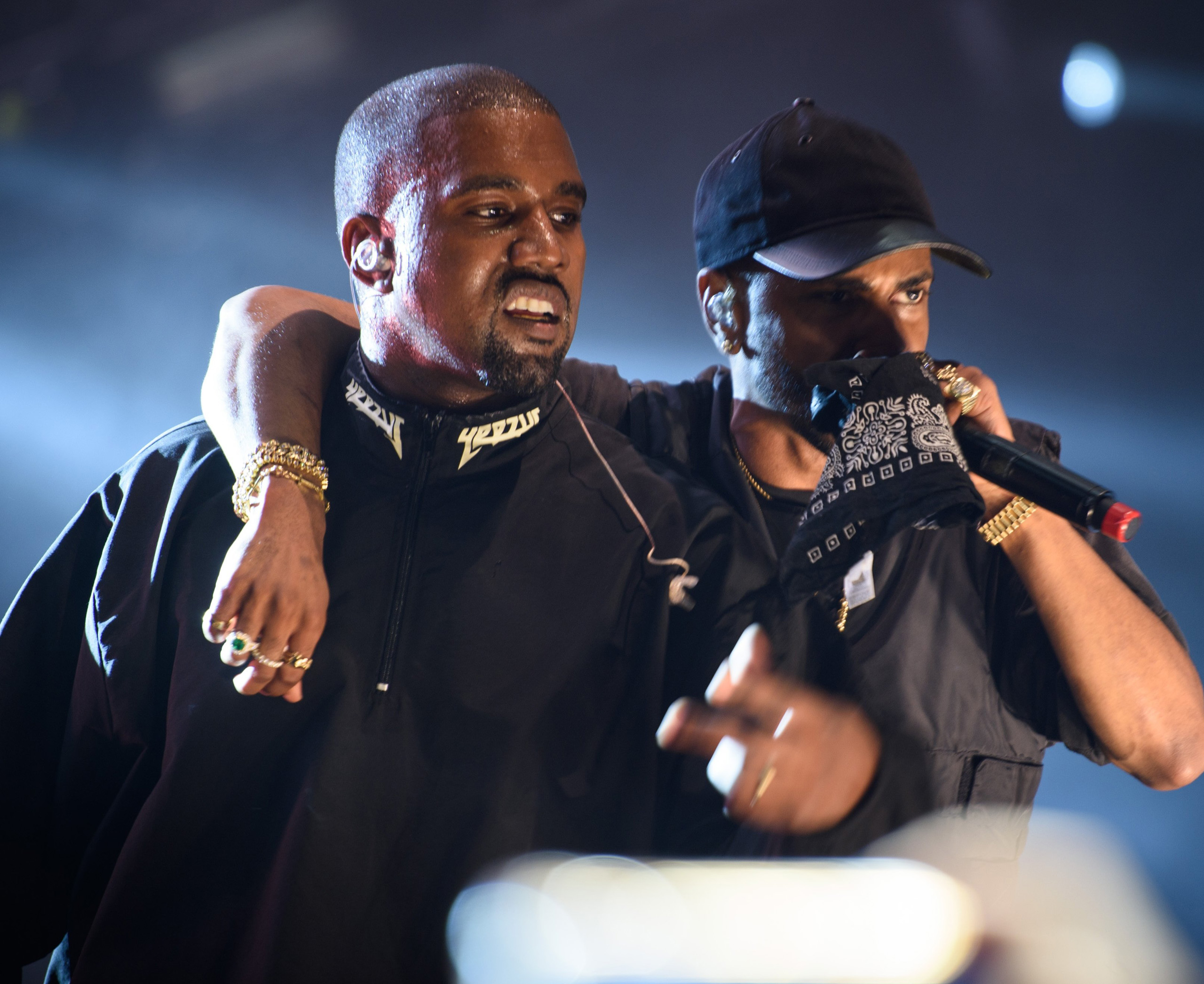 Kanye West (L)  and Big Sean (R) perform at the 2016 Hot 97 Summer Jam at MetLife Stadium in East Rutherford, New Jersey on June 5, 2016.