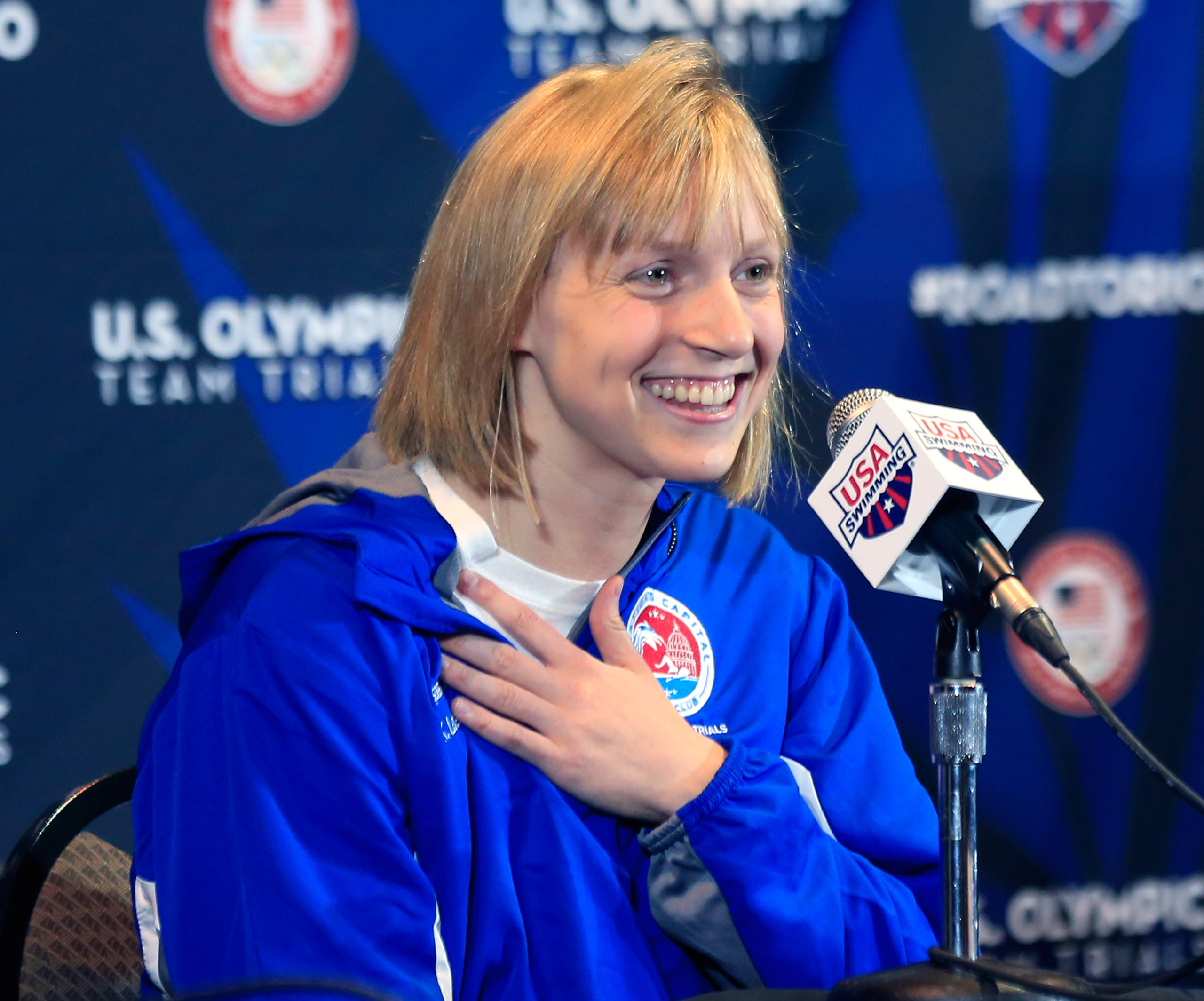 Olympic gold medalist Katie Ledecky speaks during a news conference at U.S. Olympic team trials in Omaha, Neb. on June 24, 2016.