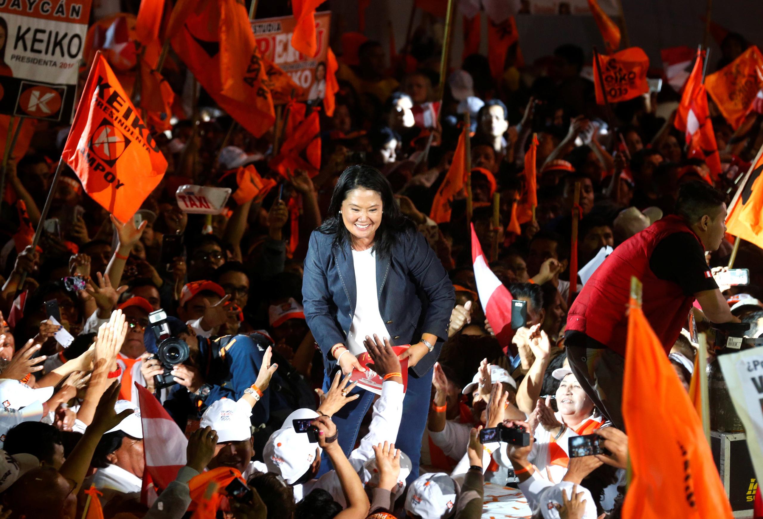 Peruvian presidential candidate Keiko Fujimori attends a closing campaign rally in Lima, June 2, 2016.