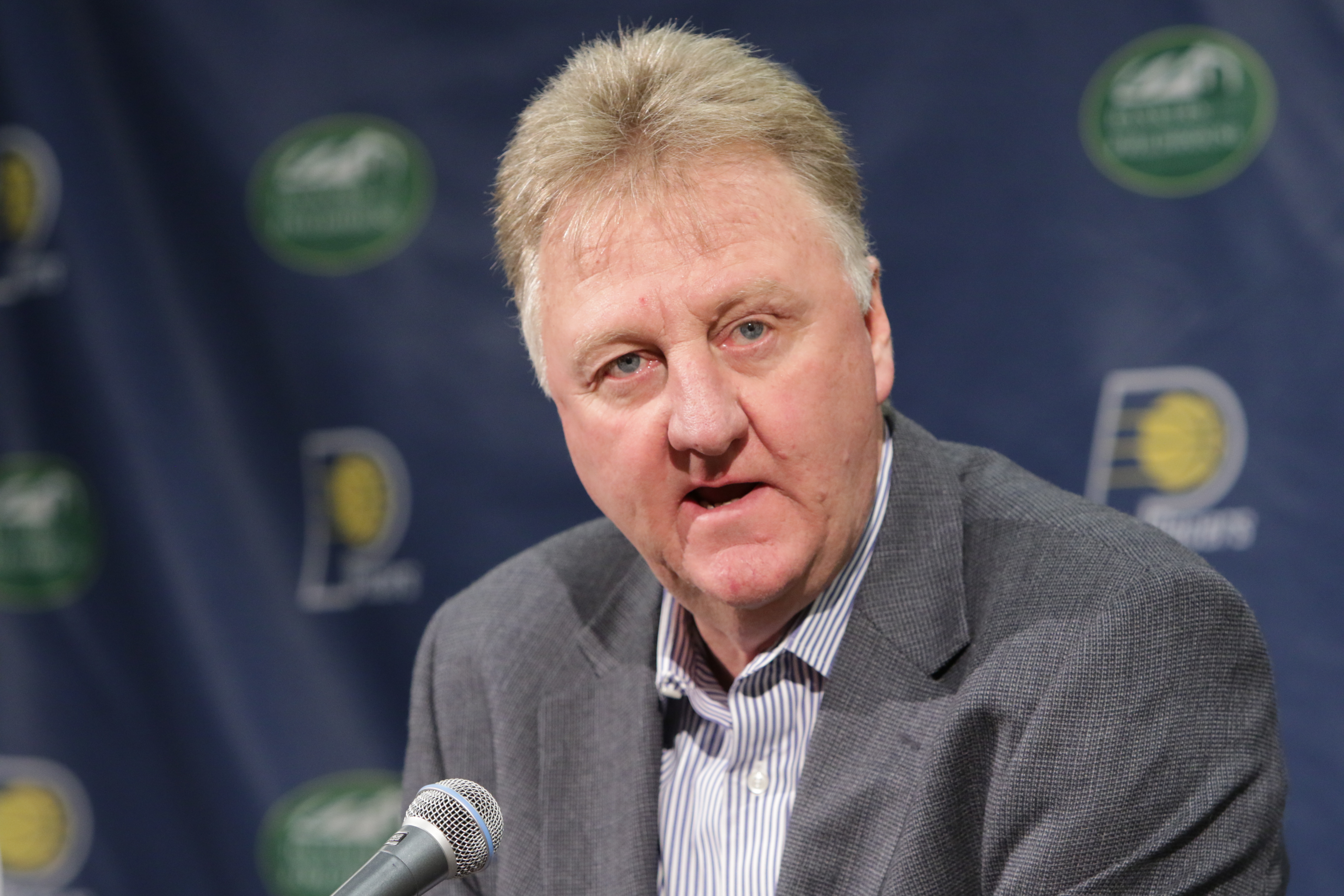 Larry Bird introduces Nate McMillan as the new head coach of the Indiana Pacers at Bankers Life Fieldhouse in Indianapolis on May 16, 2016.