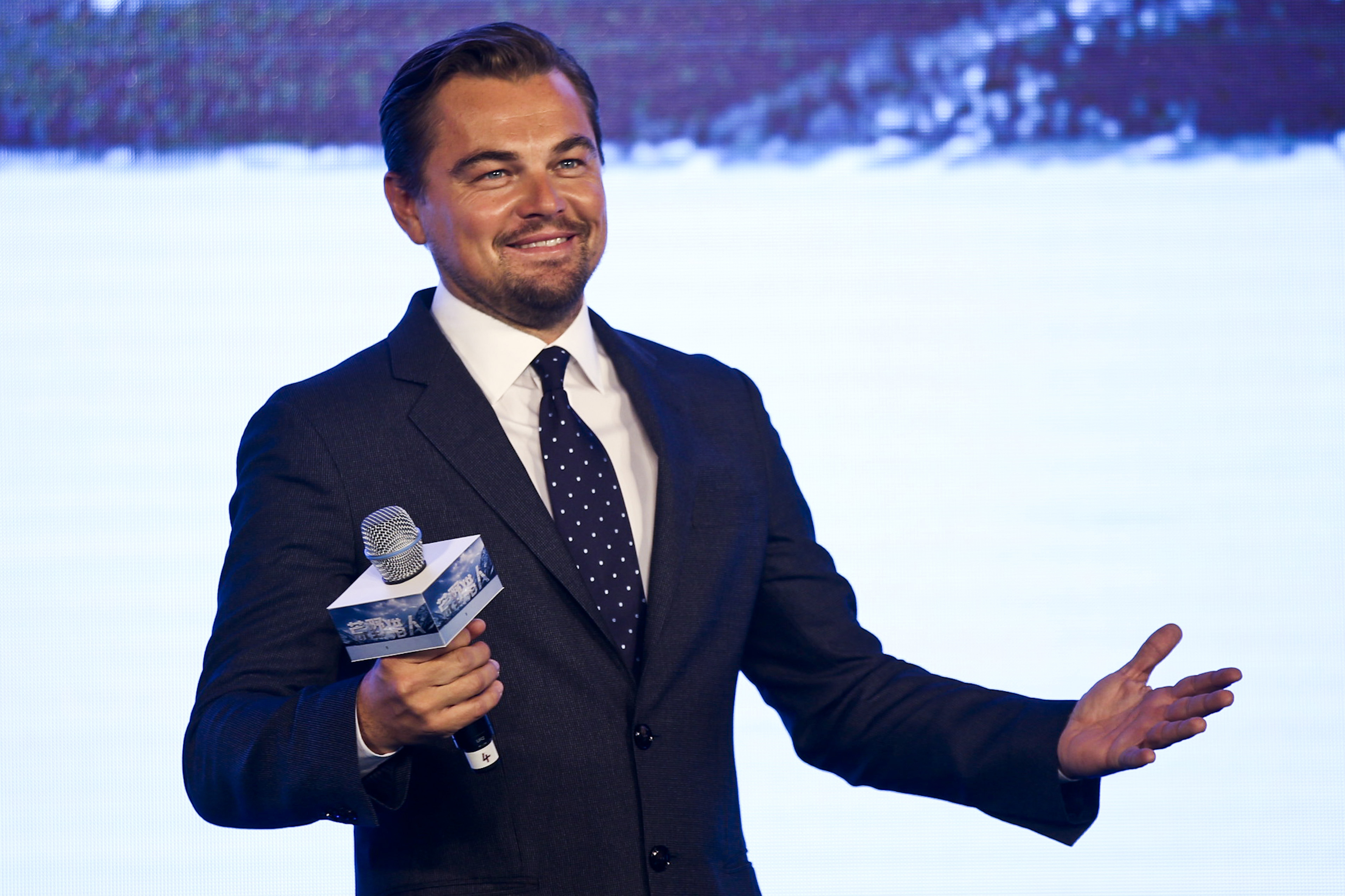 BEIJING, CHINA - MARCH 20:  (CHINA OUT) Actor Leonardo DiCaprio attends a press conference of new movie  The Revenant  on March 20, 2016 in Beijing, China.  (Photo by VCG/VCG via Getty Images)