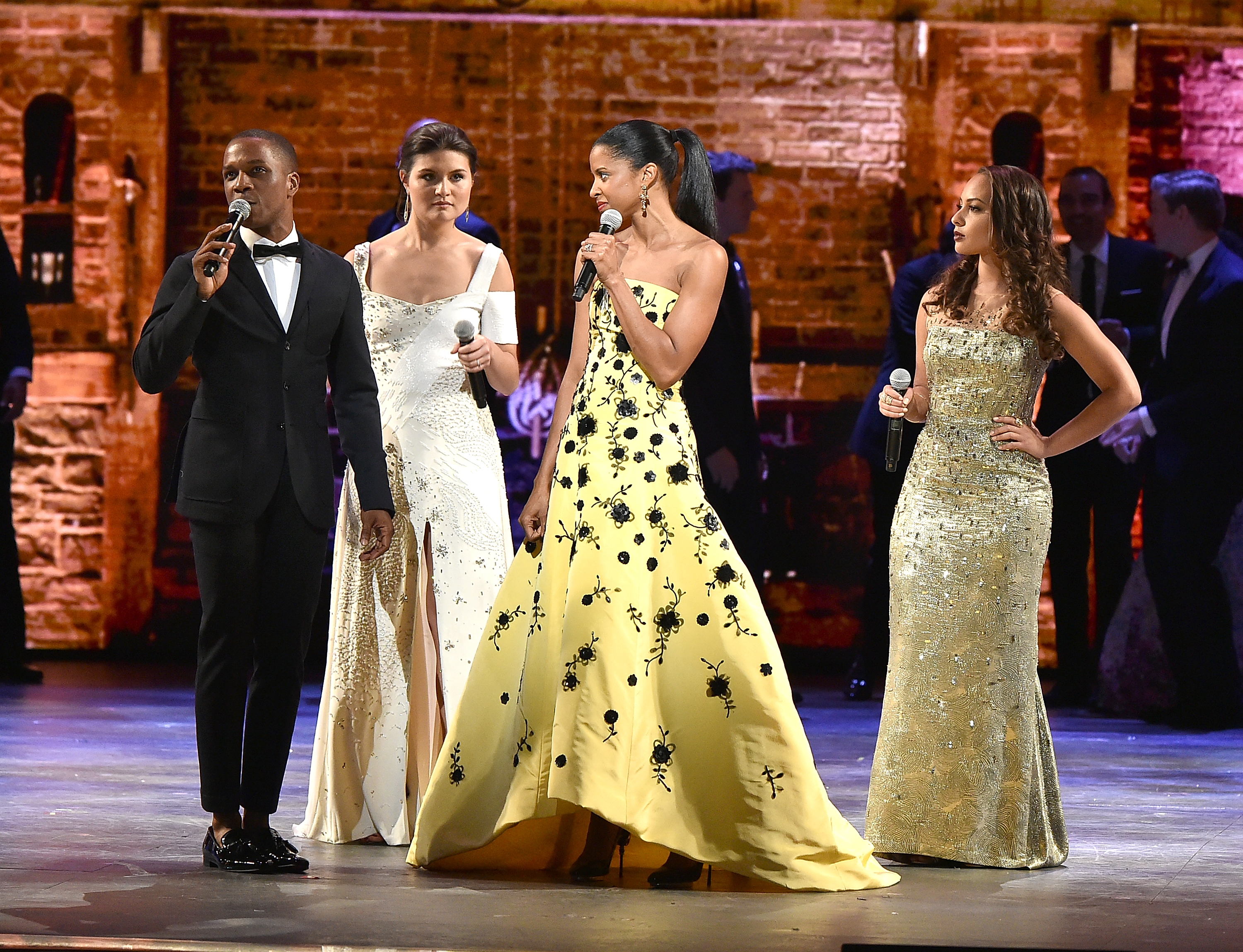 Leslie Odom Jr., Phillipa Soo, Renee Elise Goldsberry, and Jasmine Cephas Jones perform onstage during the 70th Annual Tony Awards at The Beacon Theatre on June 12, 2016 in New York City.