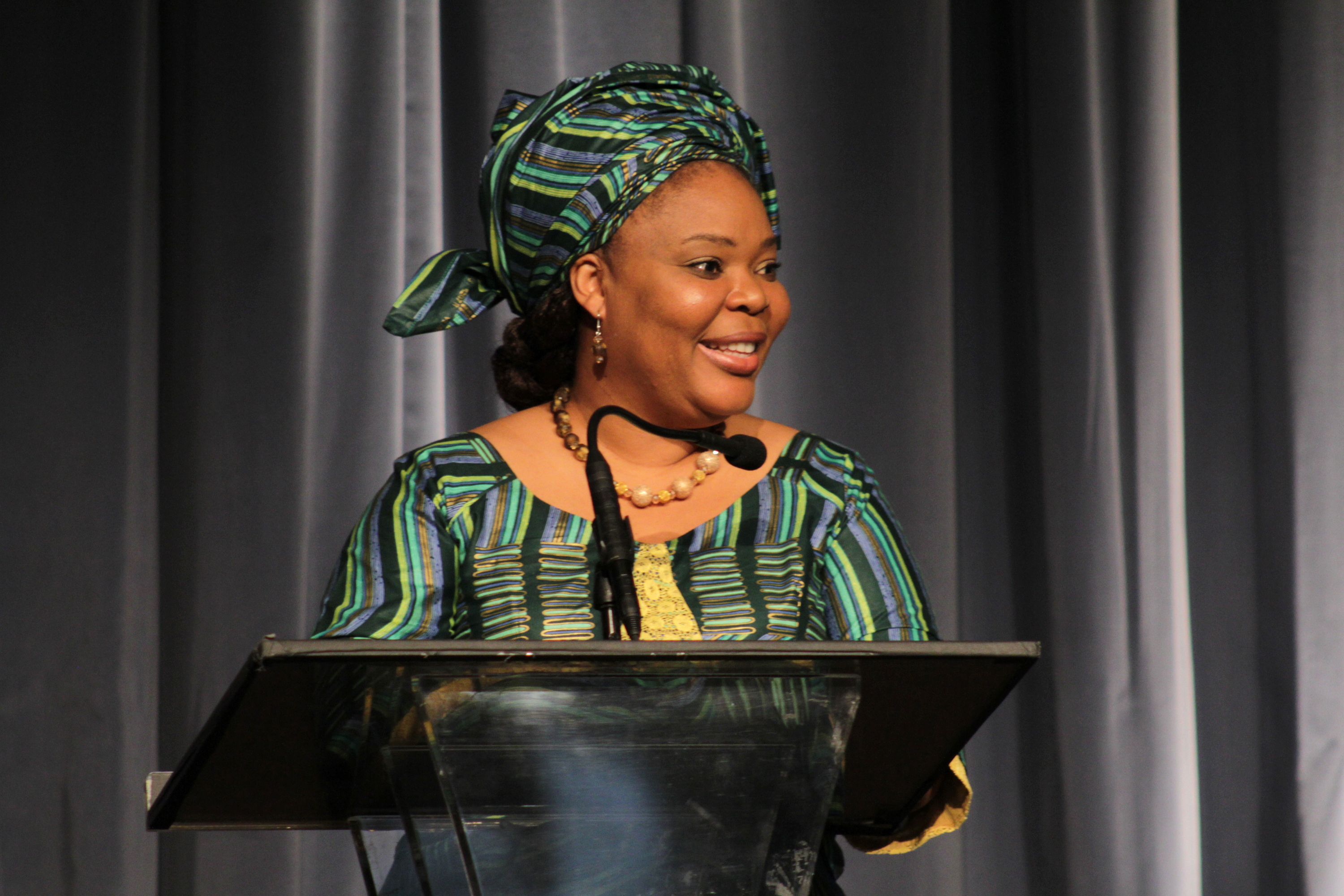 Nobel Peace Laureate Leymah Gbowee speaks about  The Role of Women at the Front Lines of Peace Building  during a Visionary Women Salon at the Beverly Wilshire Four Seasons Hotel in Beverly Hills, California on May 5, 2015.