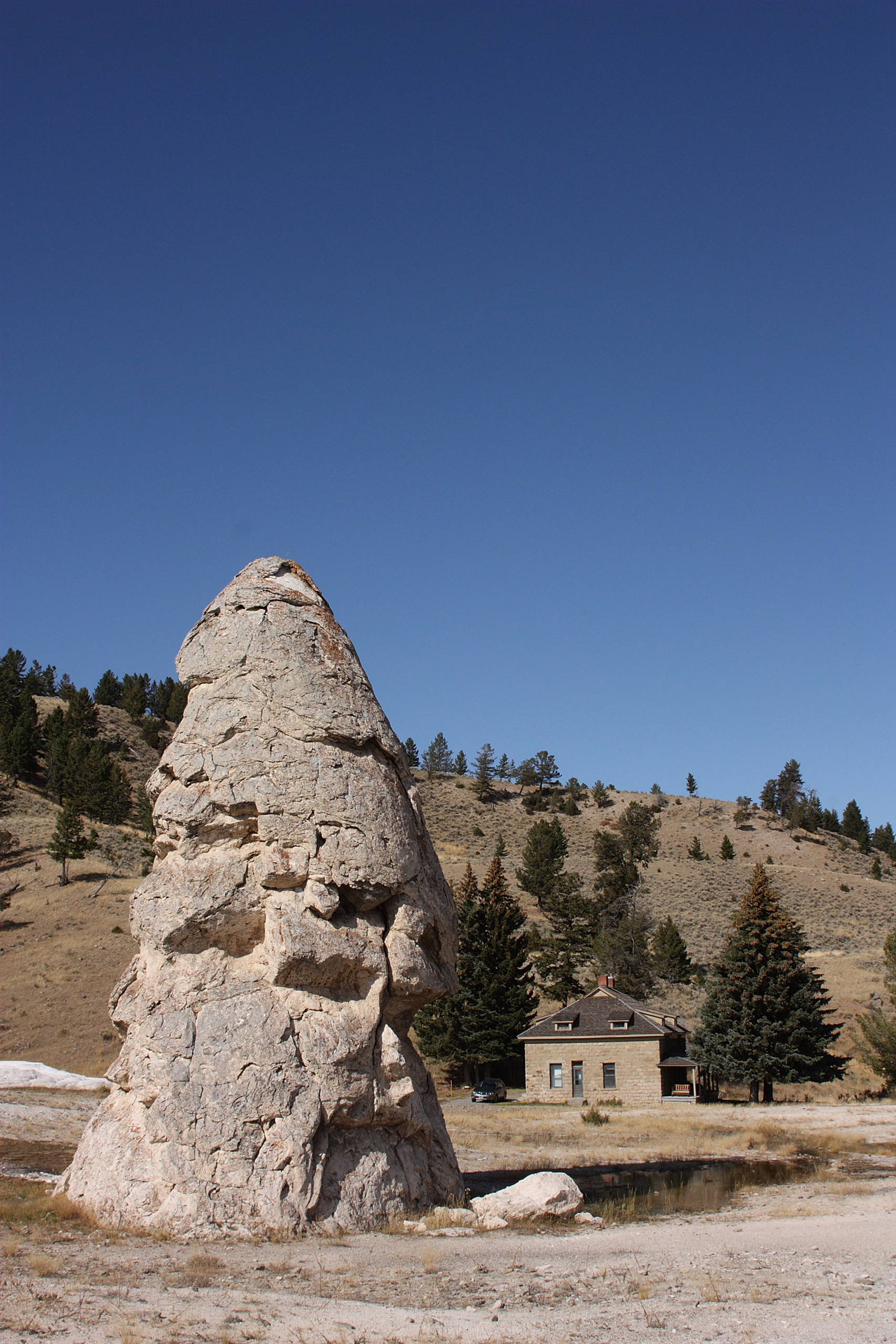 The rock structure known as Liberty Cap in the Mammoth Hot Springs area of Yellowstone National Park on Oct. 8, 2008.