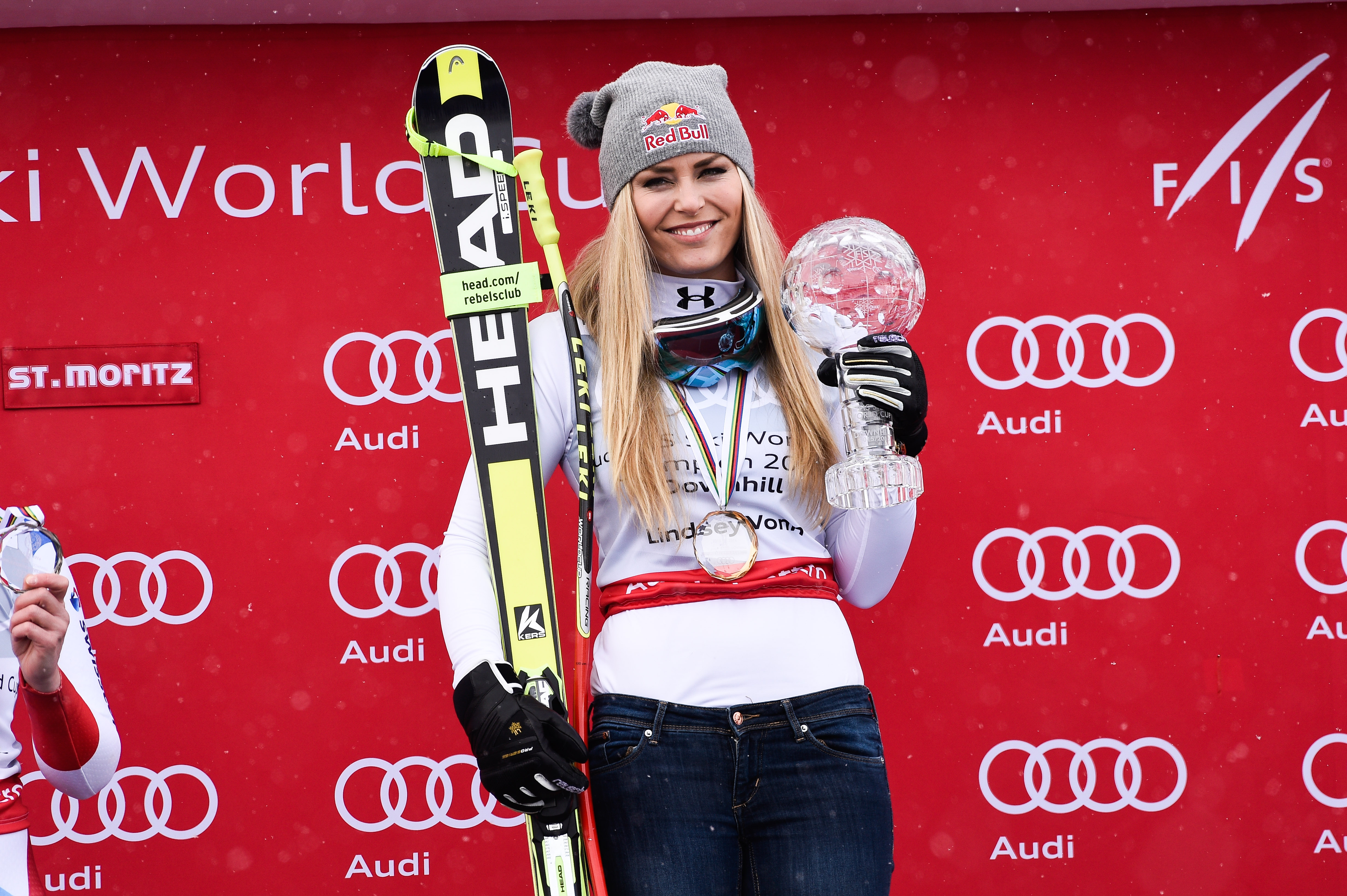 Lindsey Vonn of the USA wins the downhill crystal globe during the Audi FIS Alpine Ski World Cup Finals Men's and Women's Downhill on March 16, 2016 in St. Moritz, Switzerland.