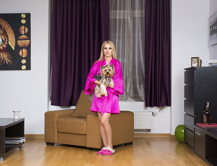 A 39-year-old independent cam model in the apartment where she lives and works in Bucharest, Romania, April 2016.